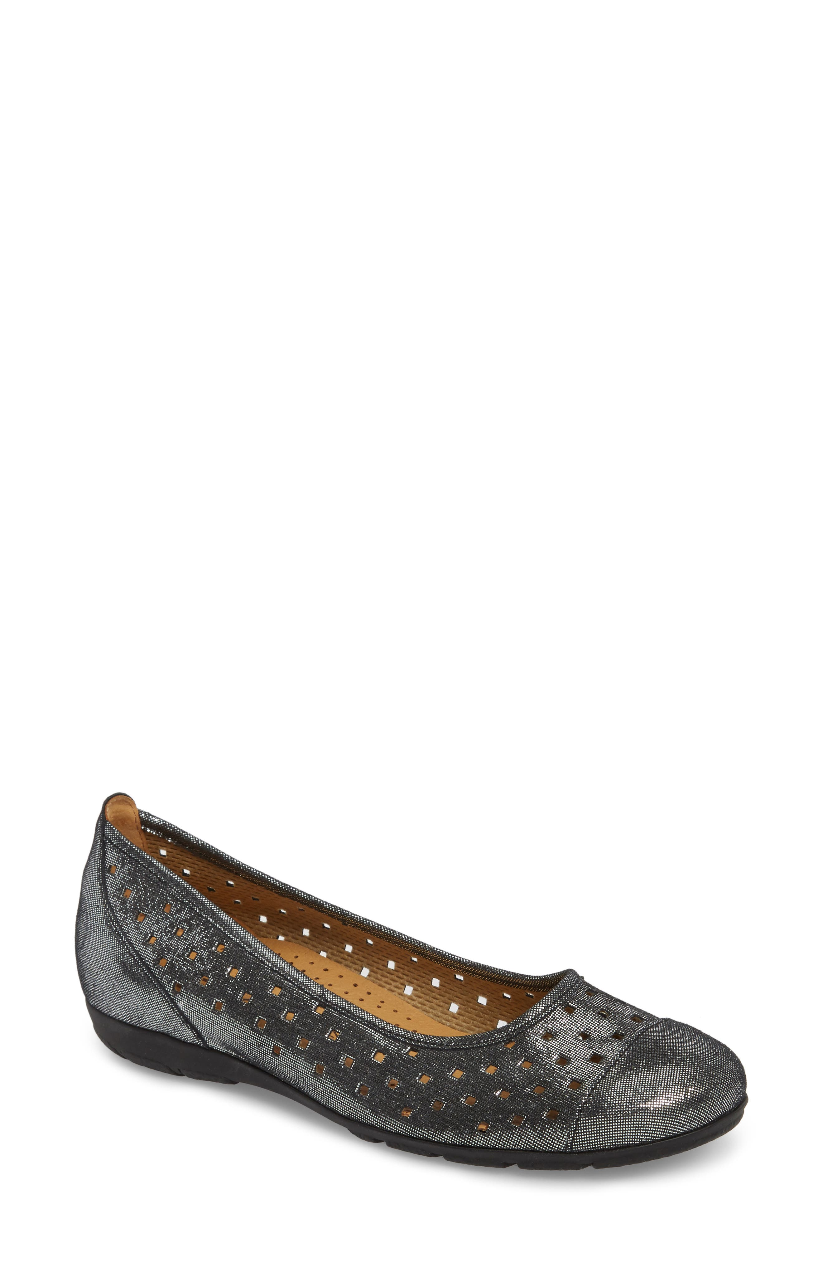 Perforated Ballet Flat,                             Main thumbnail 1, color,                             BLACK METALLIC LEATHER