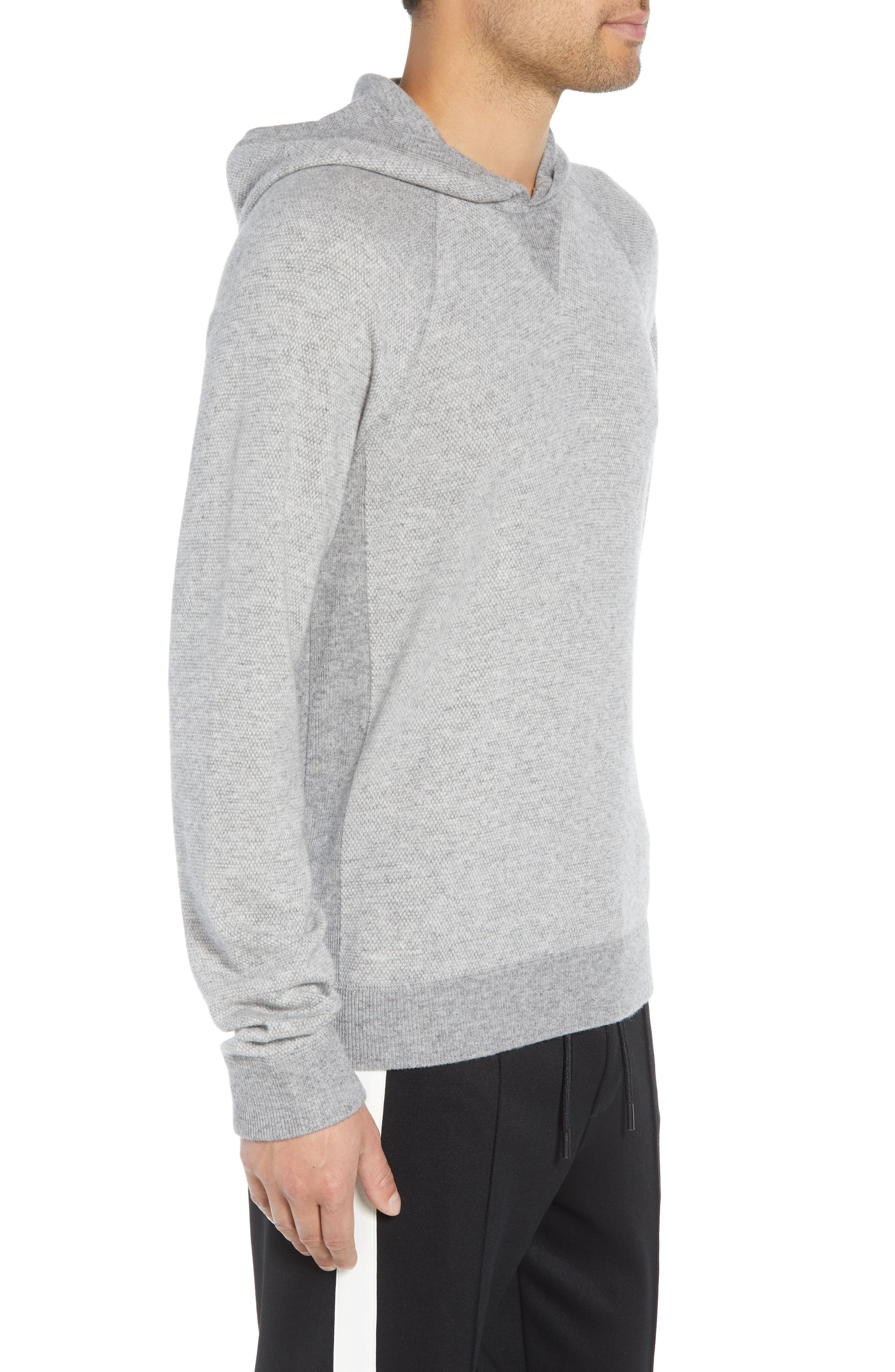 Regular Fit Bird's Eye Hoodie,                             Alternate thumbnail 3, color,                             H GREY/ PEARL
