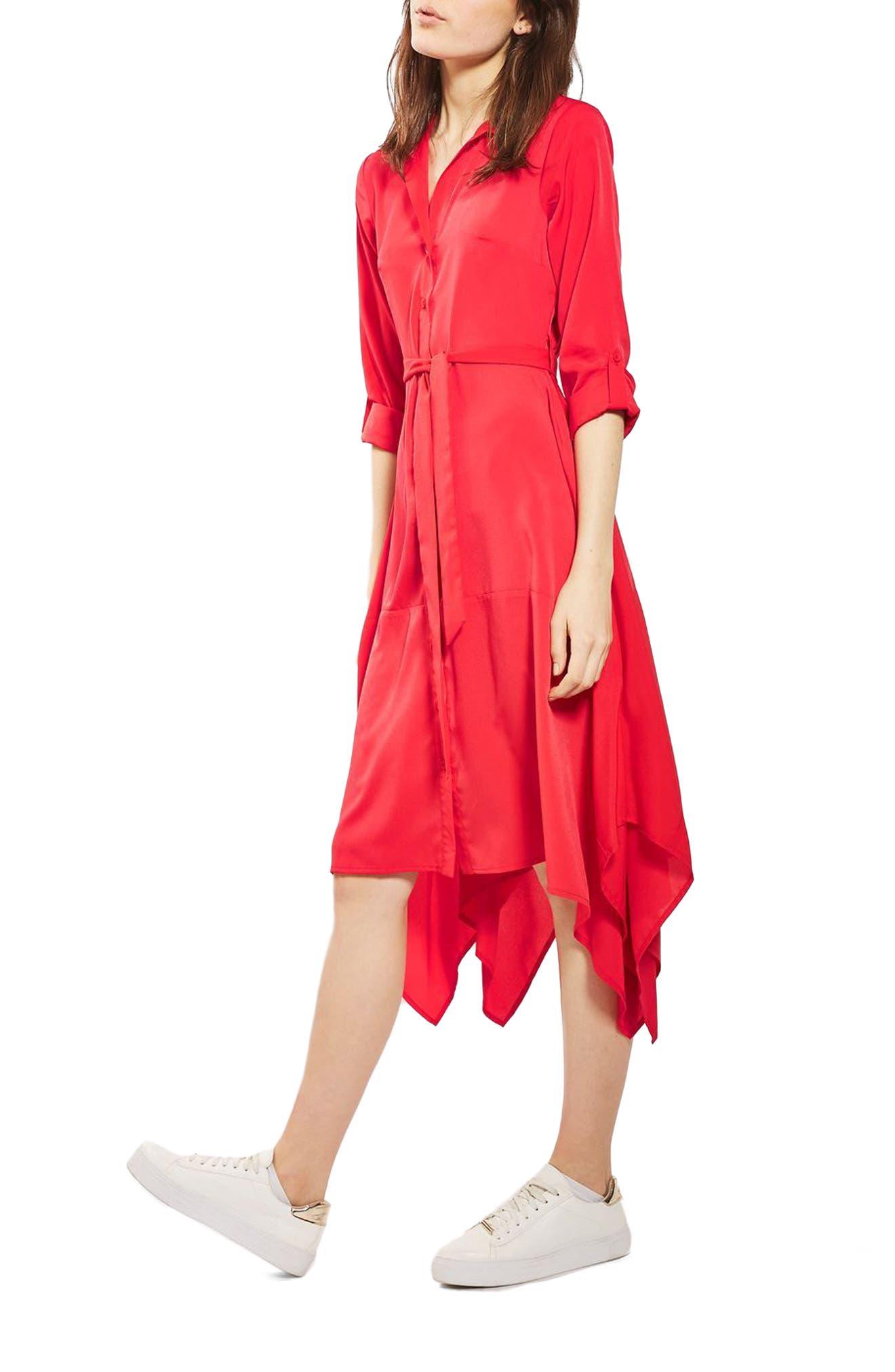 Handkerchief Hem Midi Shirtdress,                         Main,                         color, 600