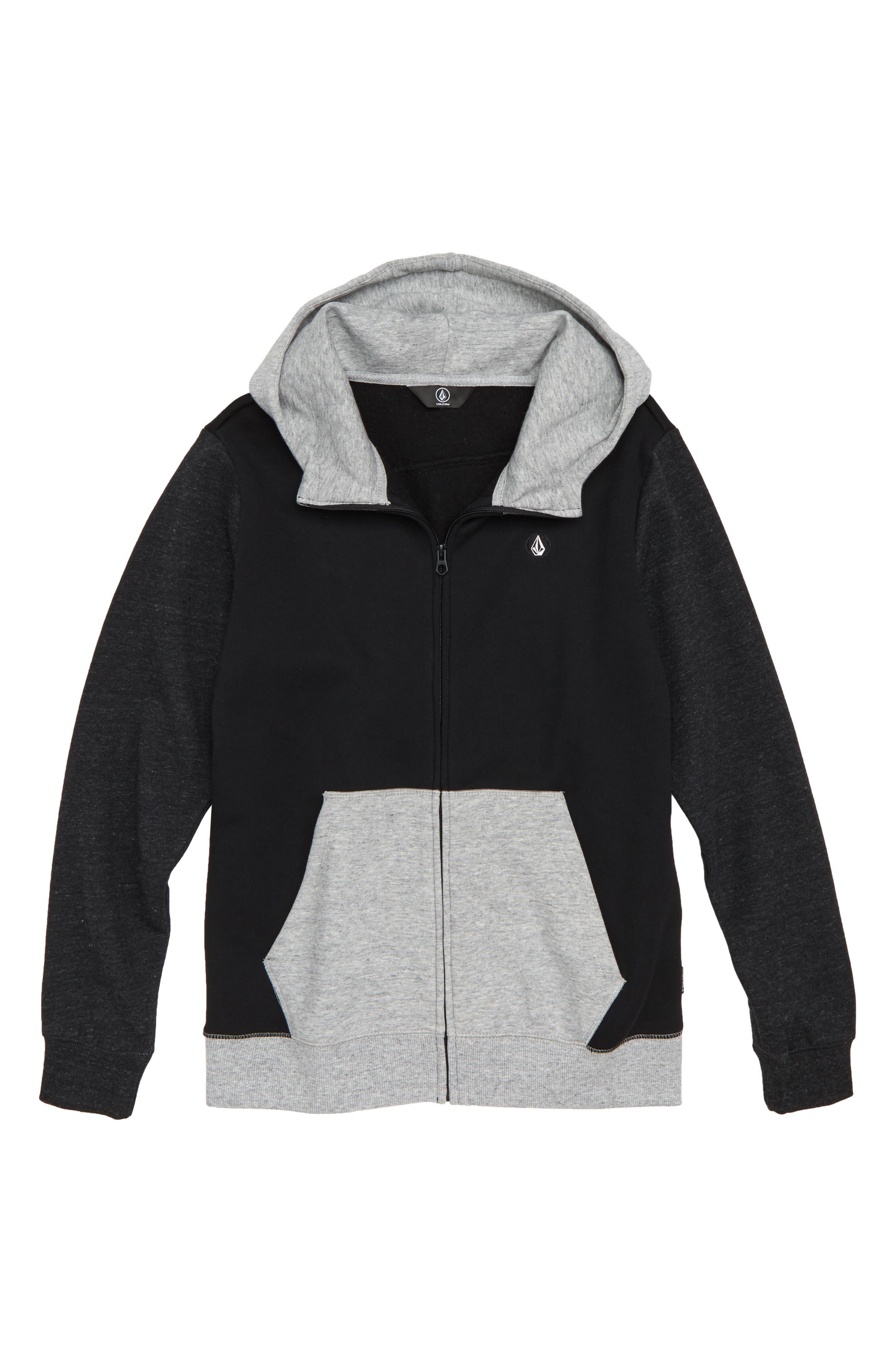 Colorblock Zip Hoodie,                         Main,                         color, BLACK