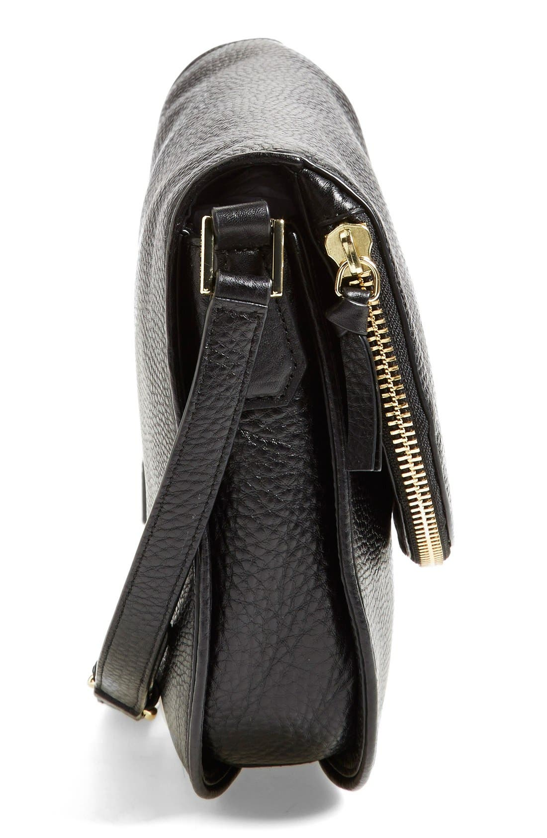 'Robinson' Pebbled Leather Shoulder Bag,                             Alternate thumbnail 4, color,                             001
