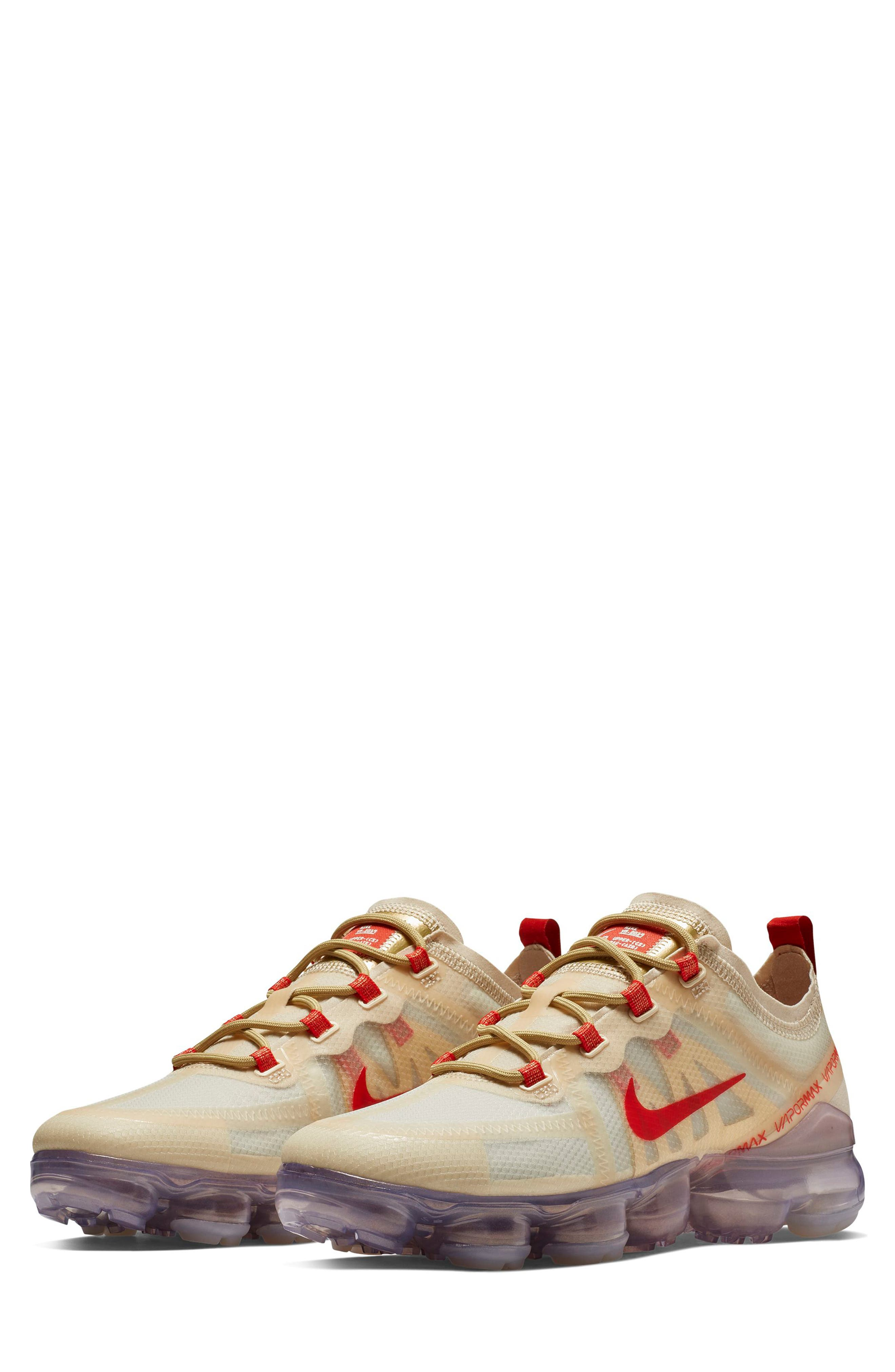 Air VaporMax 2019 Chinese New Year Running Shoe, Main, color, CREAM/ HABANERO RED/ CLUB GOLD