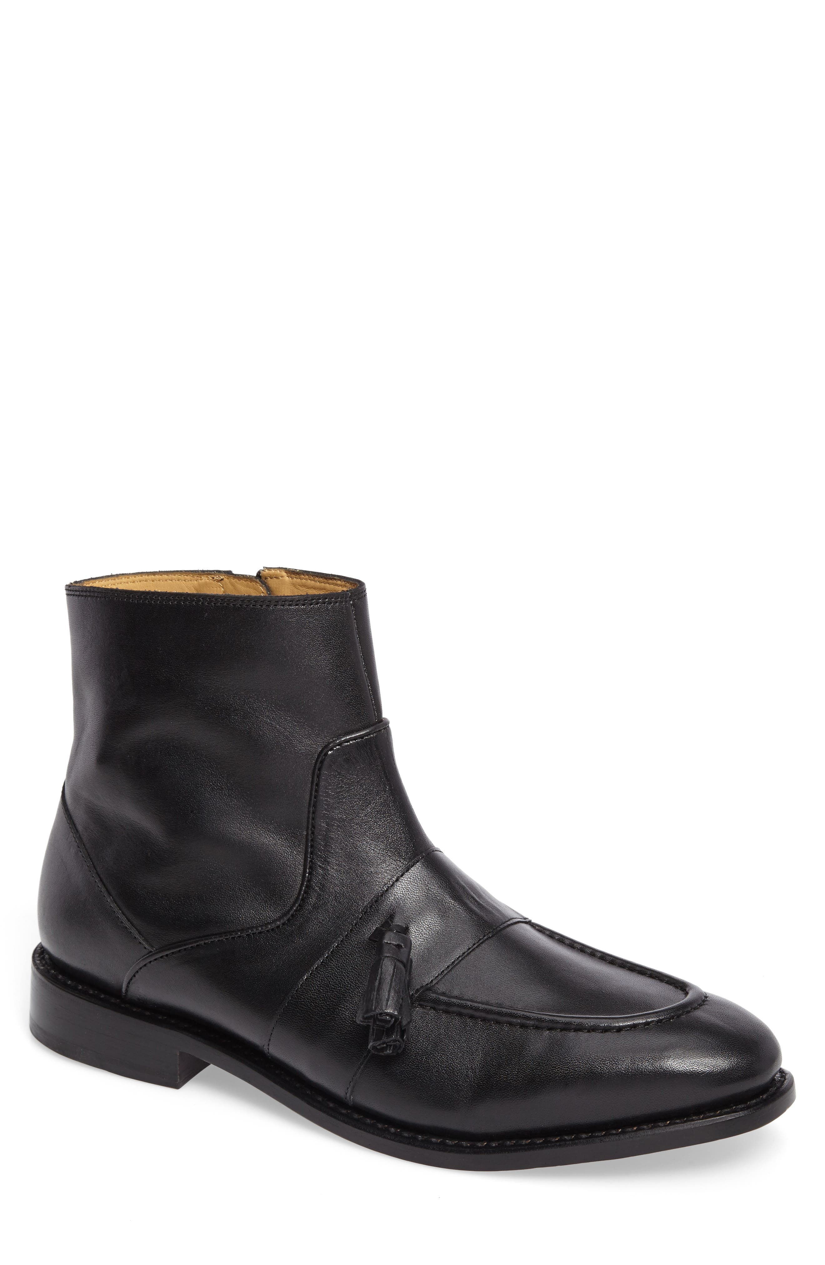 Sidney Zip Boot,                             Main thumbnail 1, color,                             NERO LEATHER
