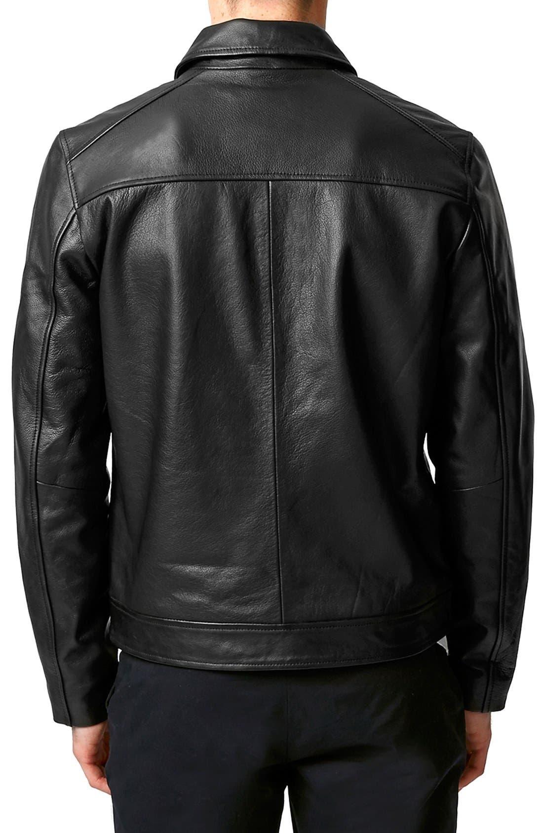 Black Leather Harrington Jacket,                             Alternate thumbnail 3, color,                             001