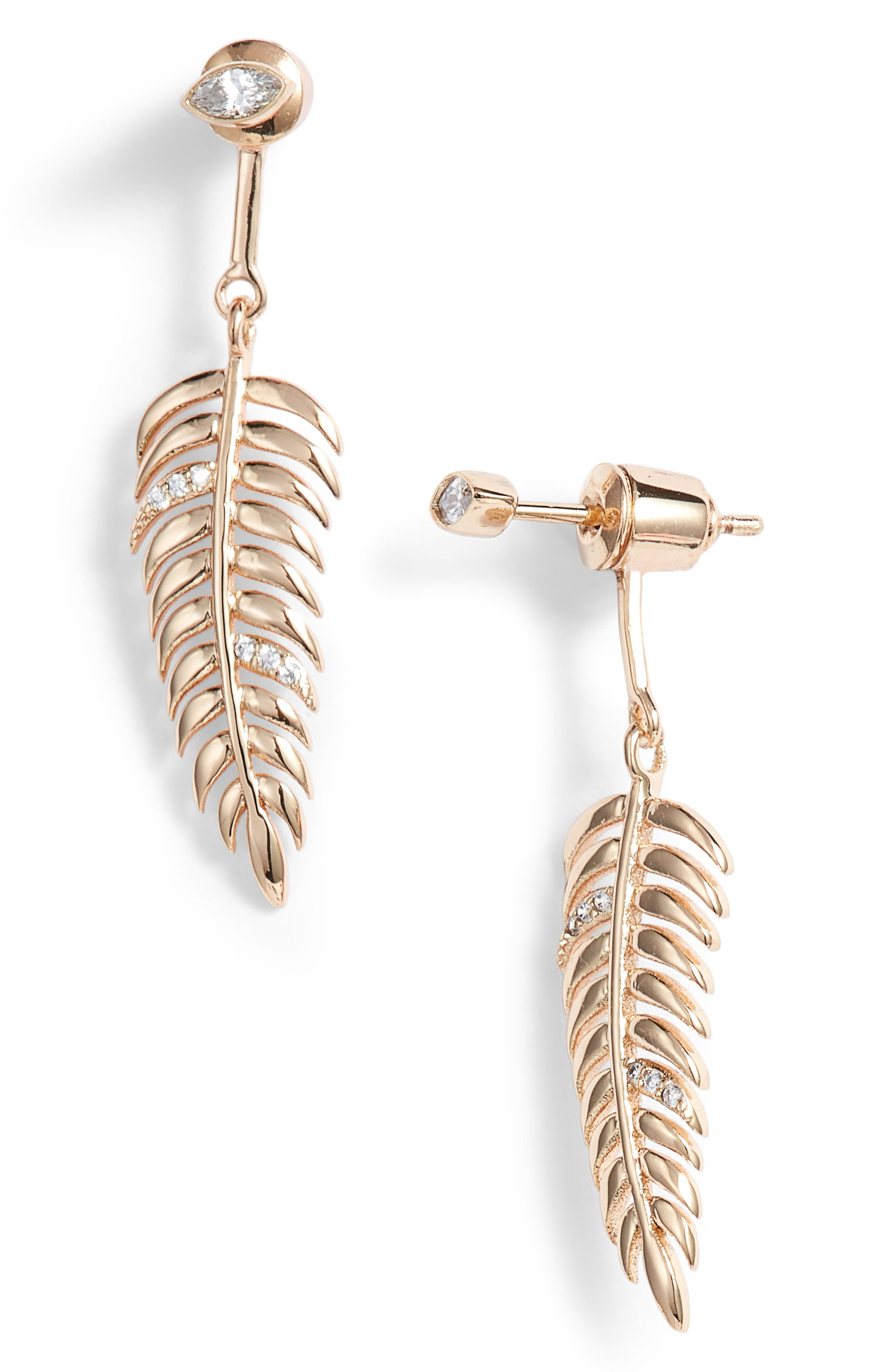 MELANIE AULD Feather Drop Earring in Gold