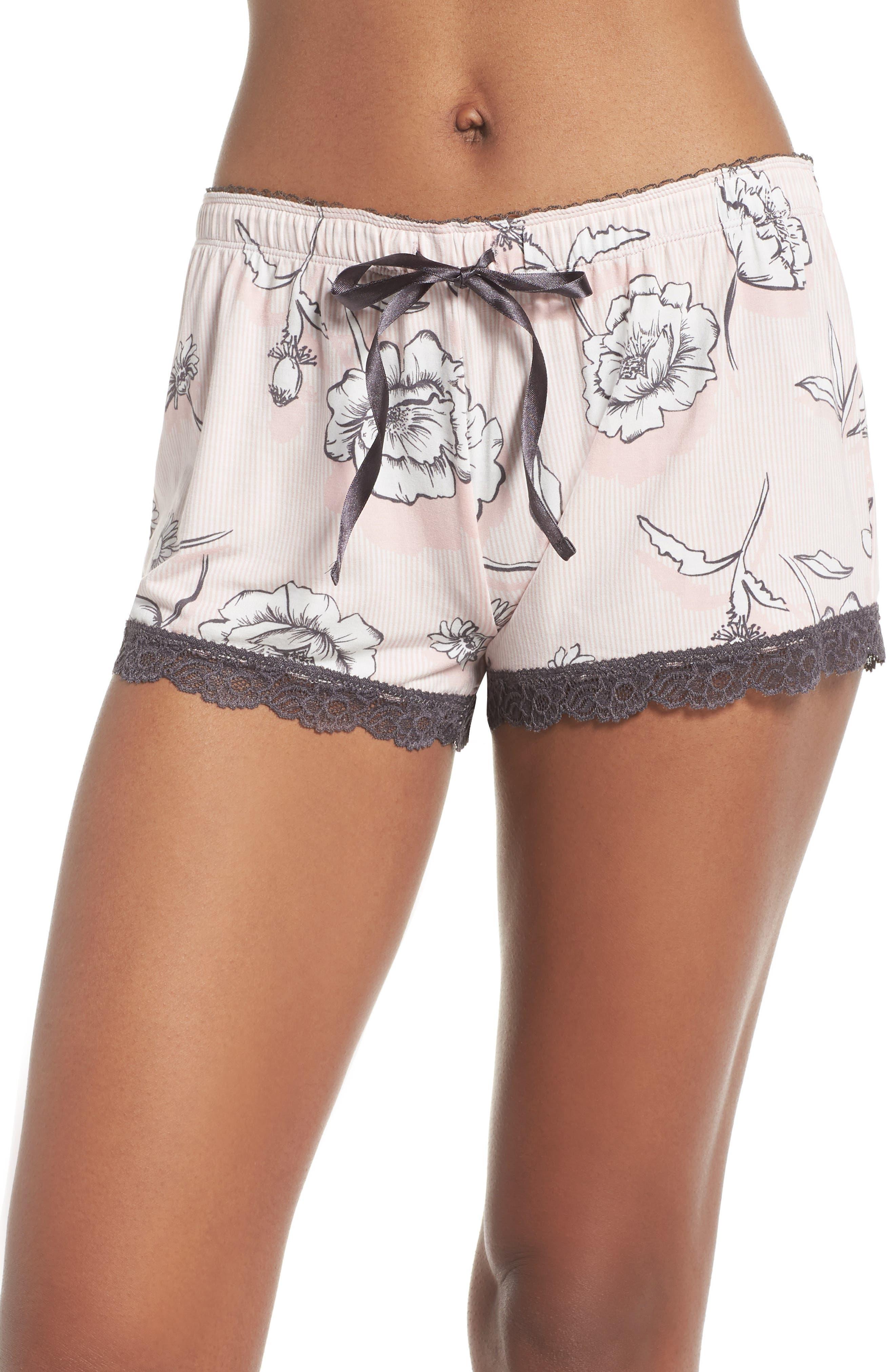 Shadow Floral Shorts,                         Main,                         color, BLUSH
