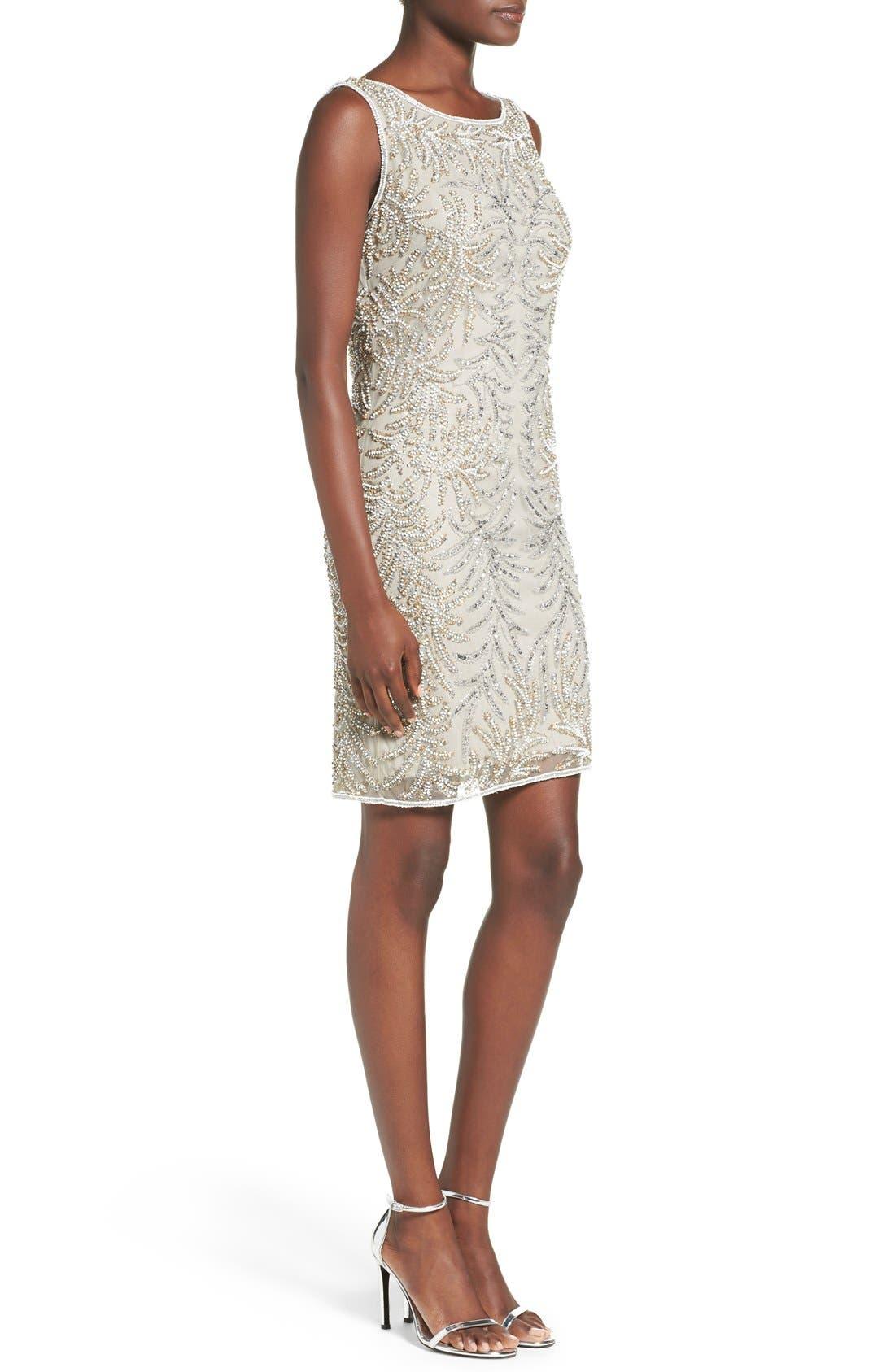 Embellished Mesh Sheath Dress,                             Alternate thumbnail 3, color,                             040