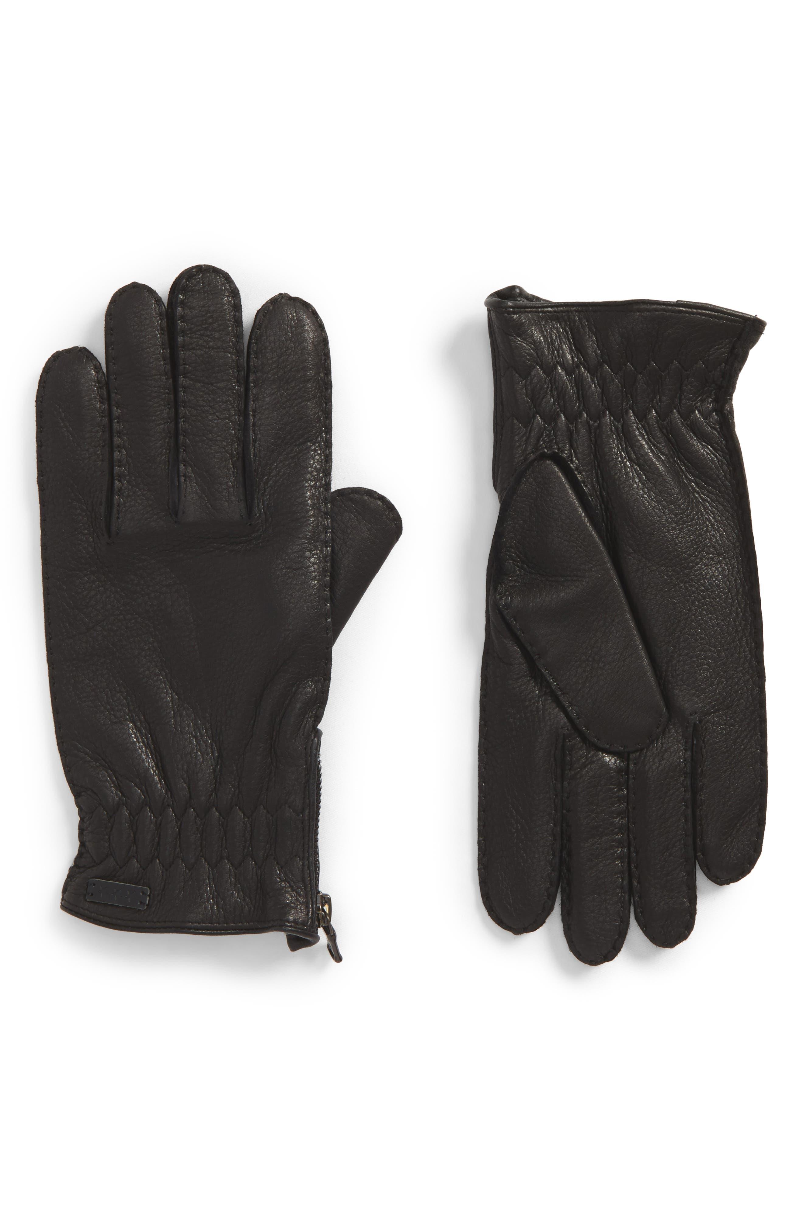 Deerskin Leather Gloves,                         Main,                         color, 001
