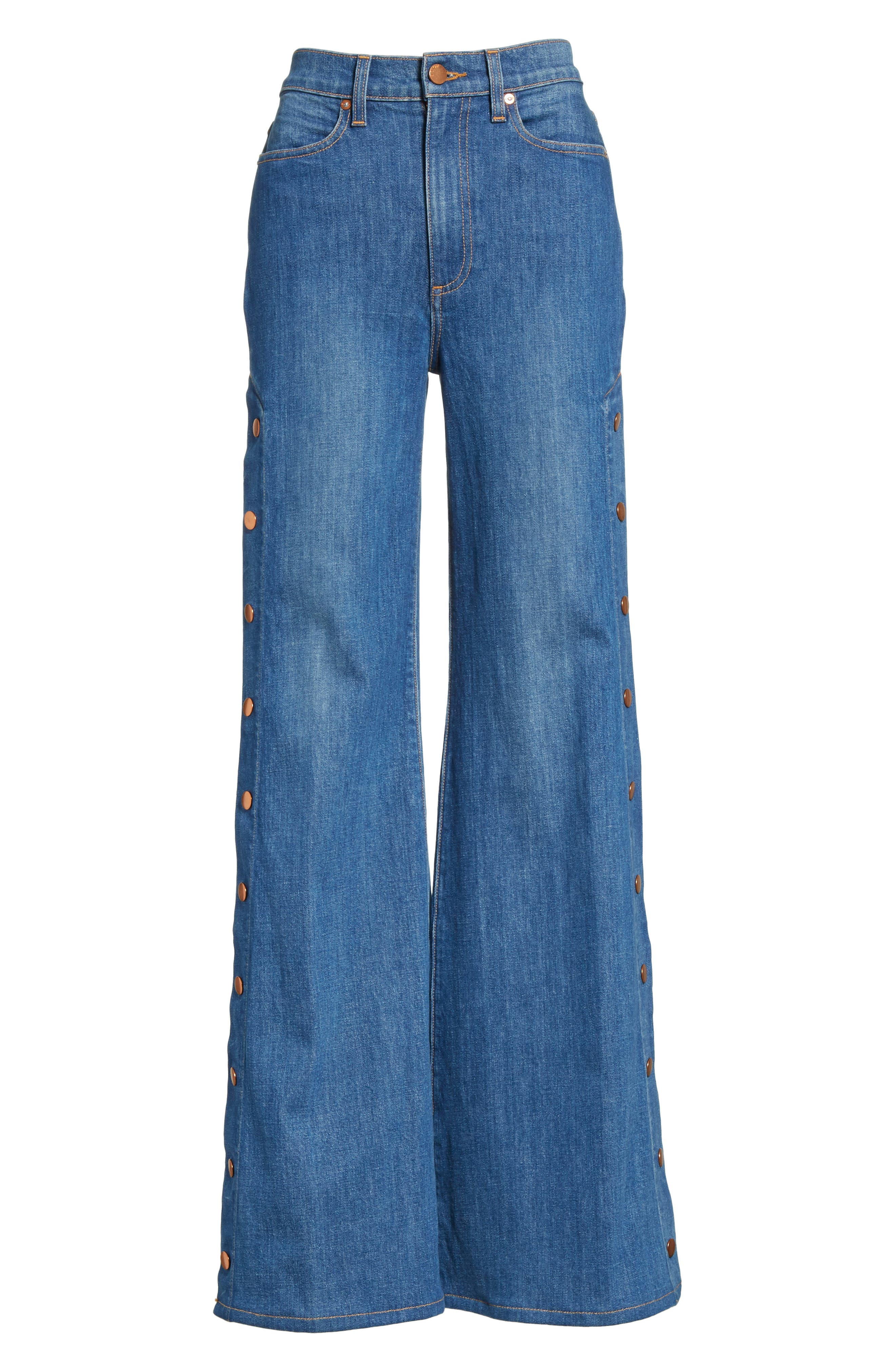 AO.LA Gorgeous Snap Side Flare Leg Jeans,                             Alternate thumbnail 6, color,                             460