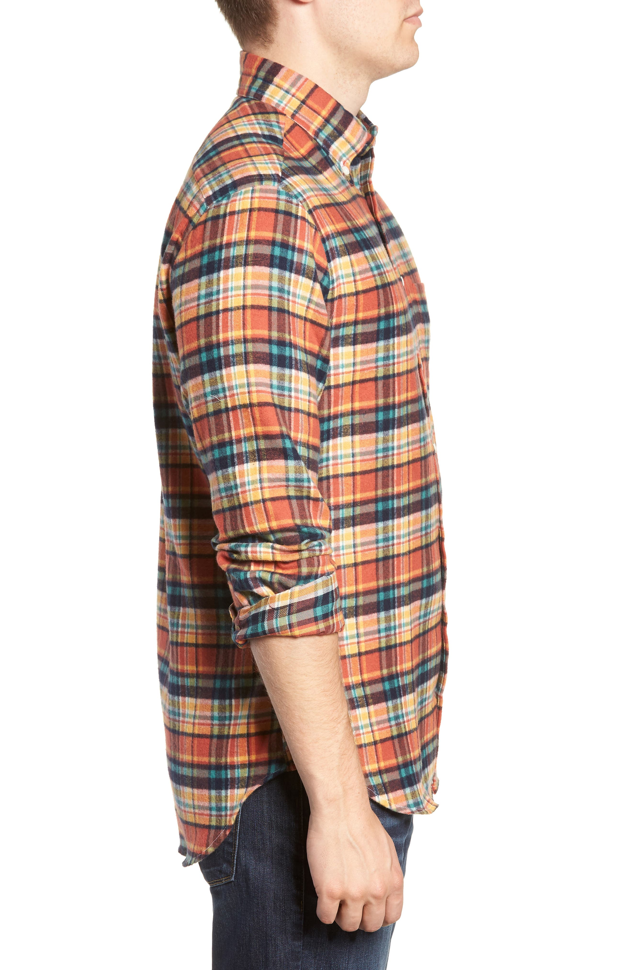 Regular Fit Flannel Shirt,                             Alternate thumbnail 4, color,                             800