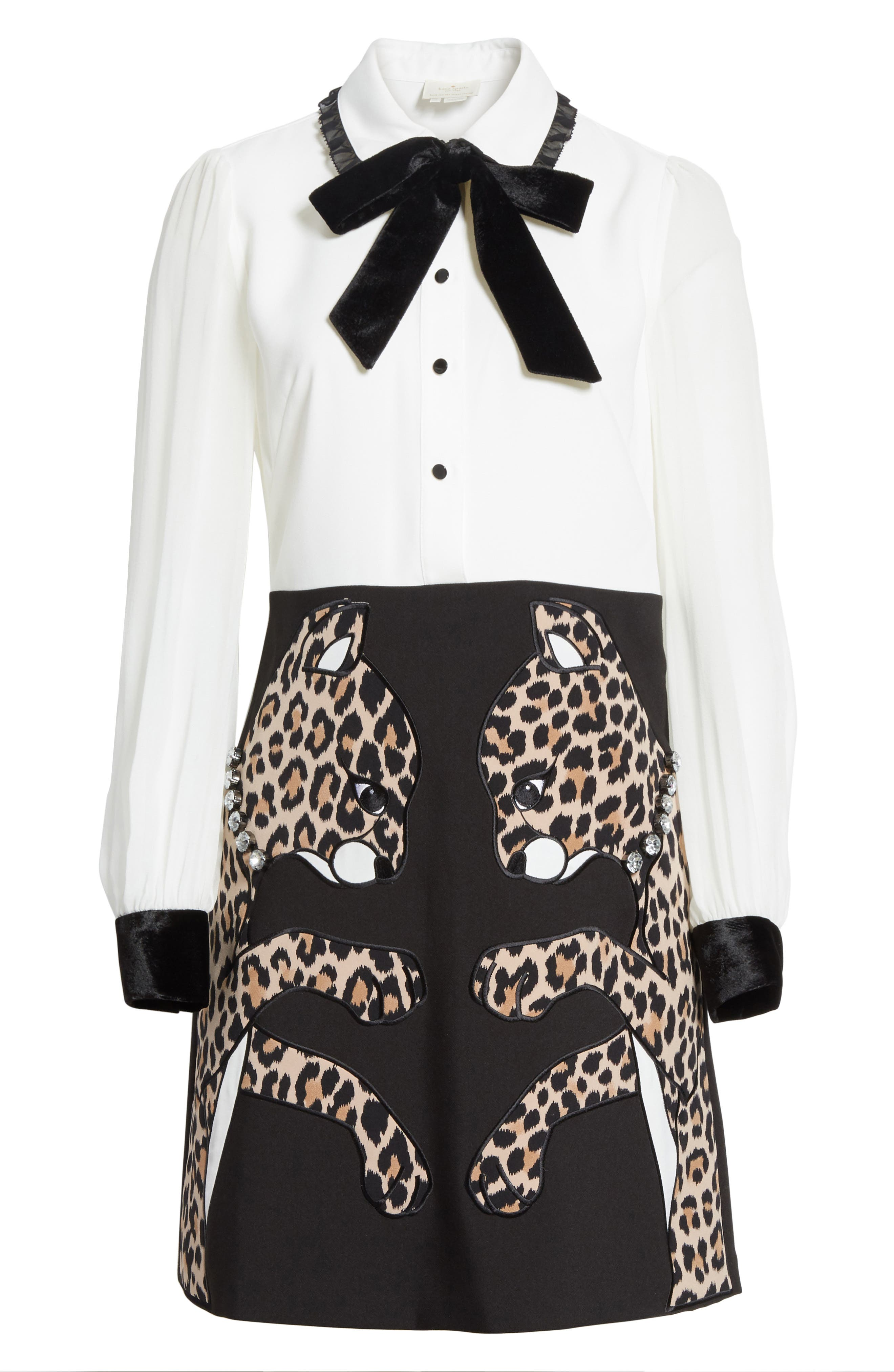 leopard appliqué shirtdress,                             Alternate thumbnail 6, color,                             001