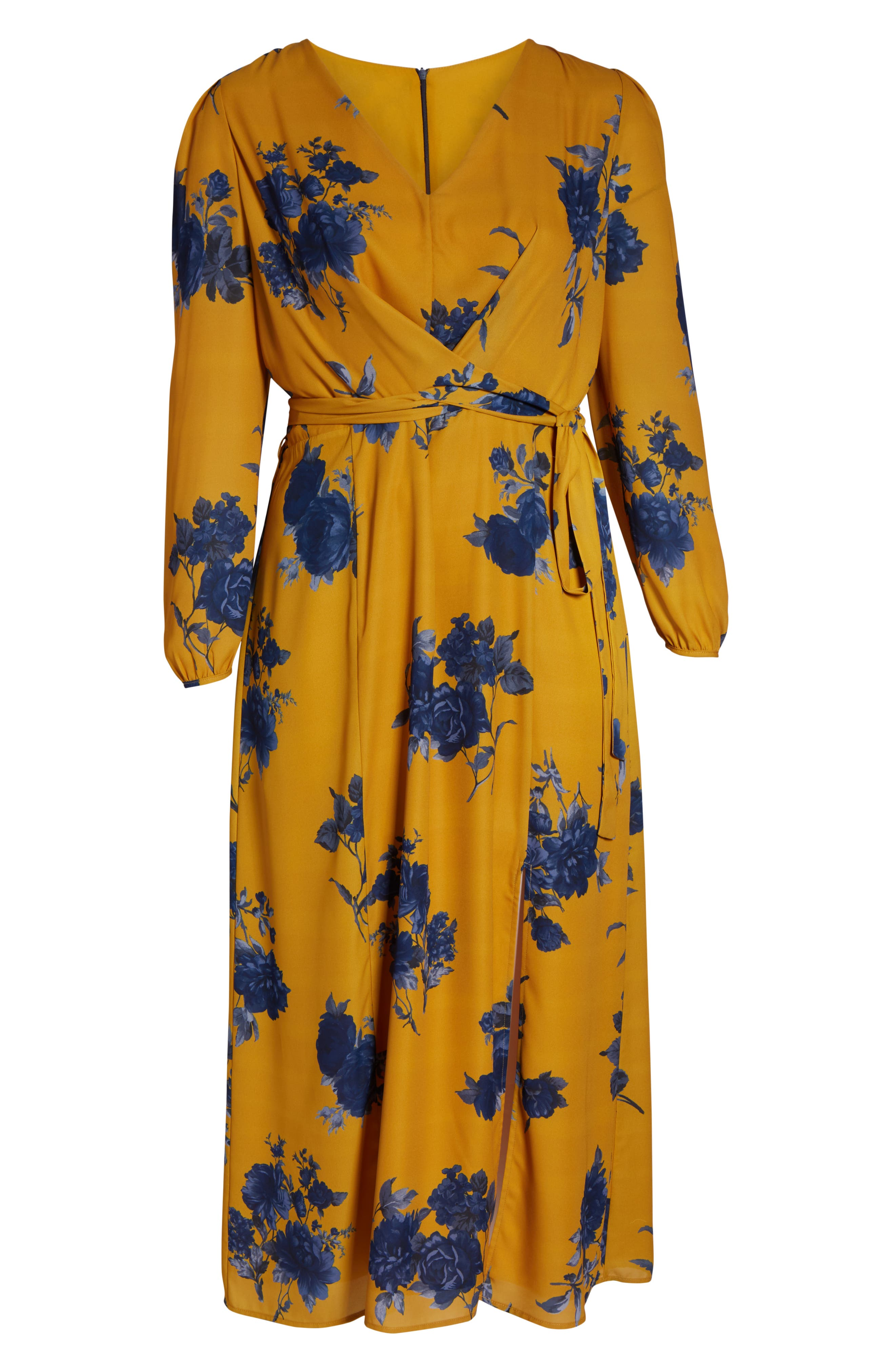 CHELSEA28,                             Floral Print Faux Wrap Maxi Dress,                             Alternate thumbnail 7, color,                             YELLOW NAVY