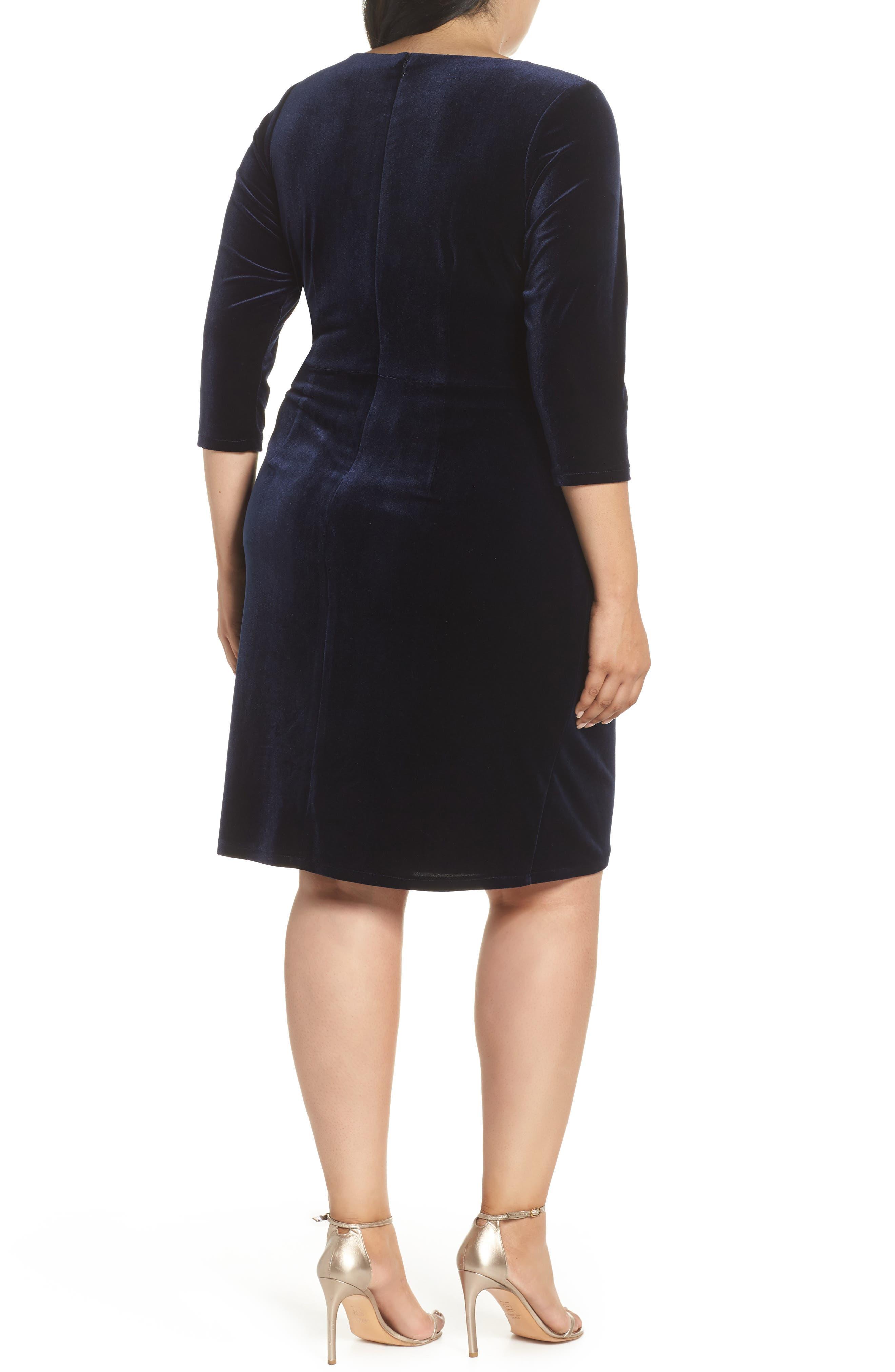 Stretch Velvet Sheath Dress,                             Alternate thumbnail 2, color,                             NAVY