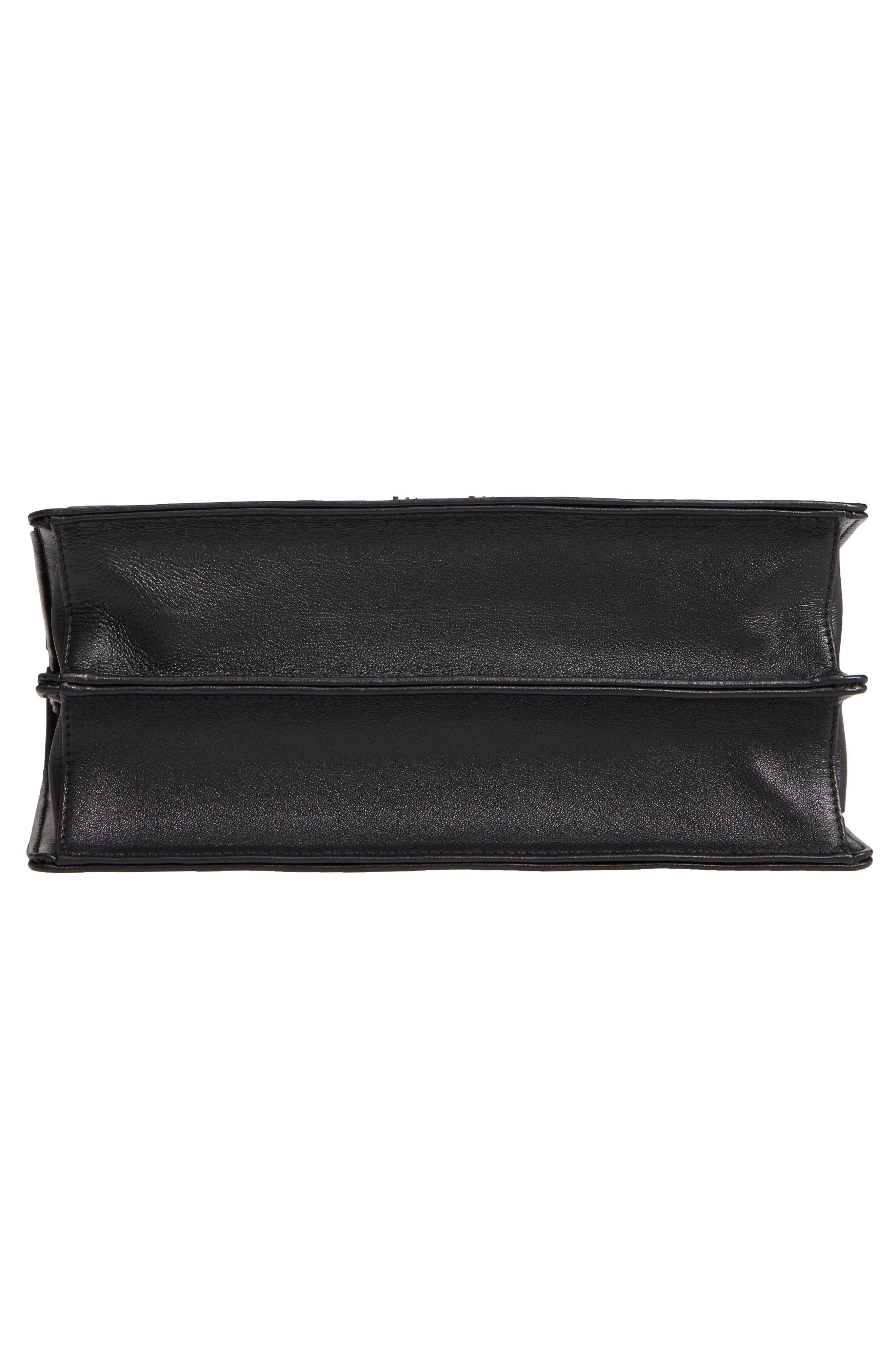 Confidential Matelassé Quilted Lambskin Leather Top Handle Bag,                             Alternate thumbnail 6, color,                             NERO