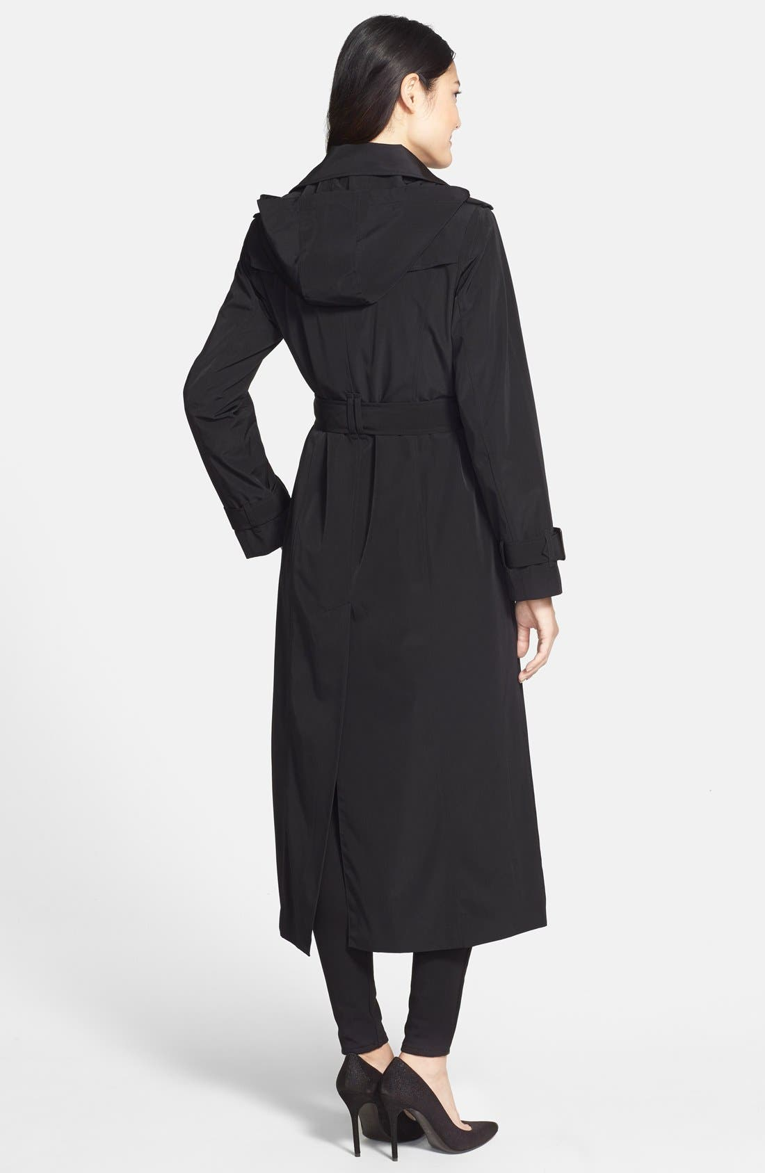 Long Trench Coat with Removable Hood,                             Alternate thumbnail 2, color,                             001