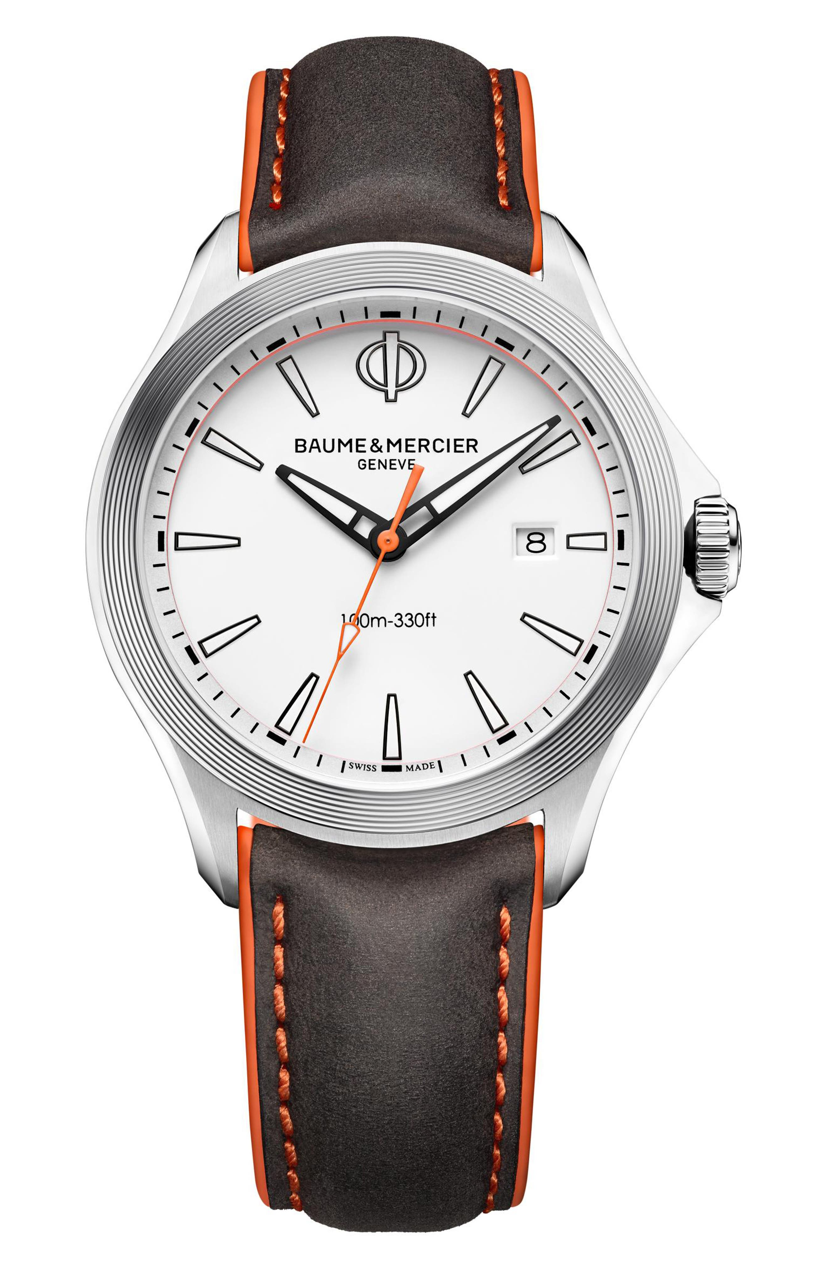 Clifton Leather Strap Watch, 42mm,                             Main thumbnail 1, color,                             WHITE/BLACK