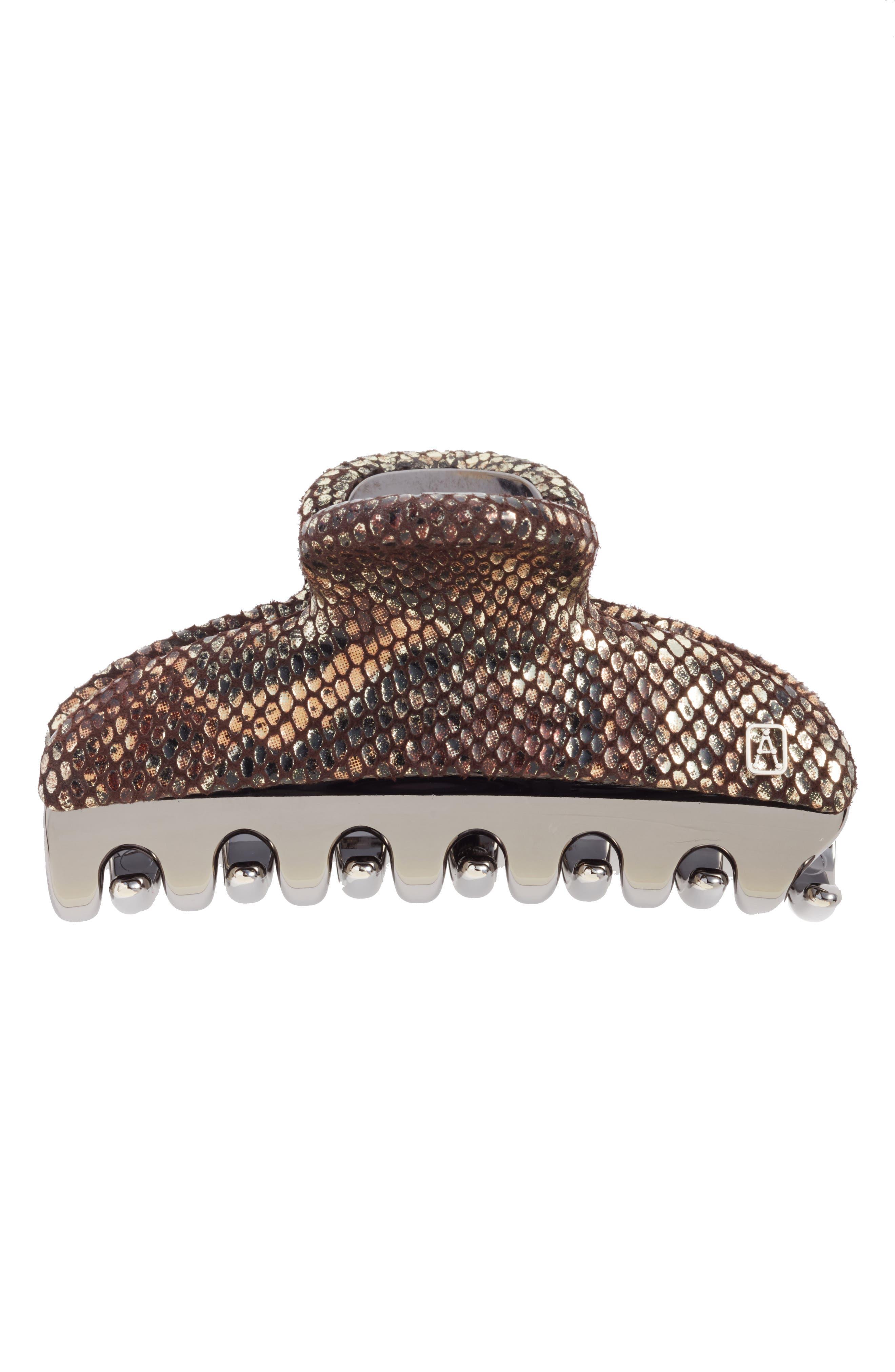 ALEXANDRE DE PARIS,                             Vendome Python Embossed Leather Hair Clip,                             Main thumbnail 1, color,                             020