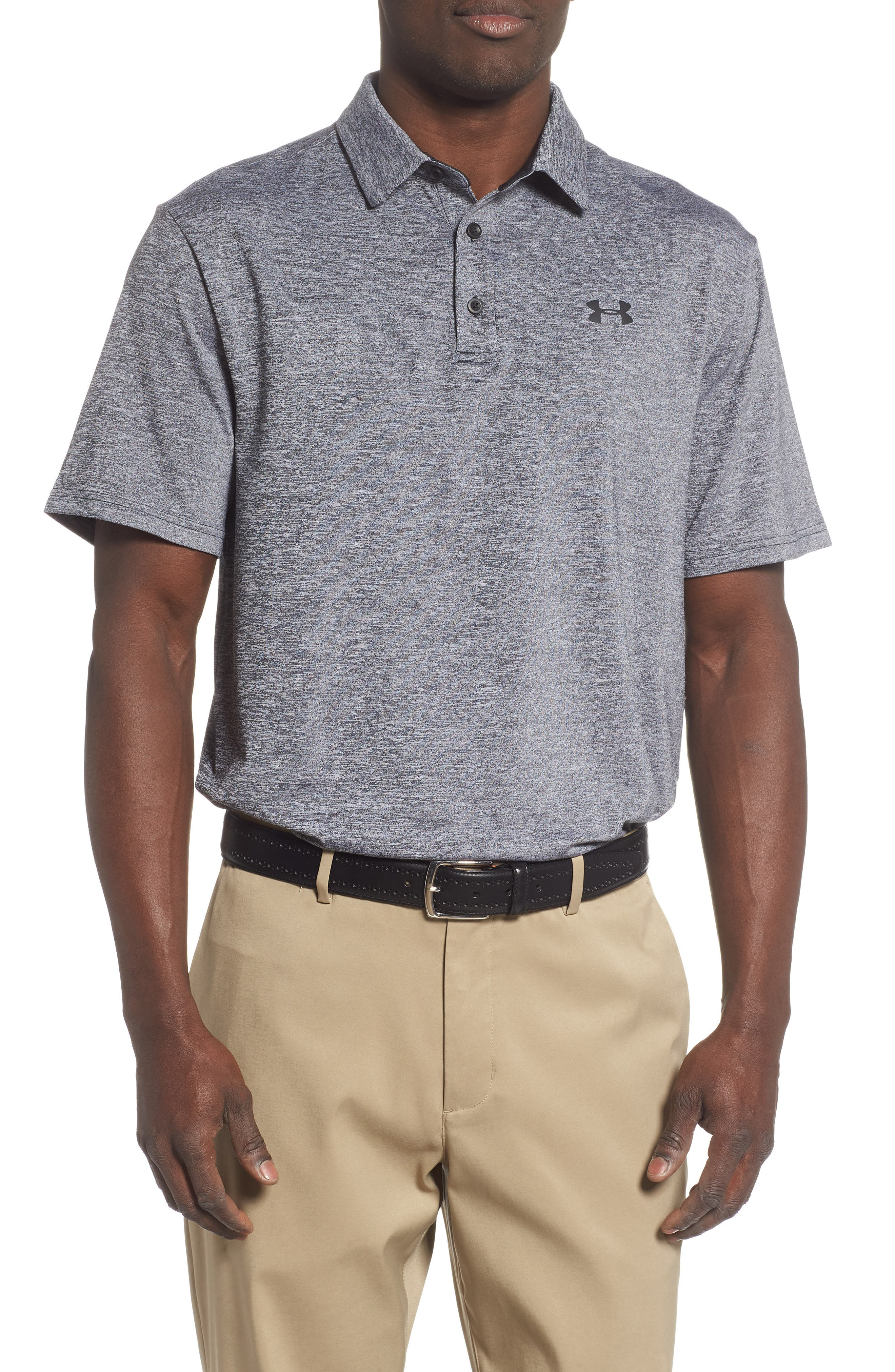 UNDER ARMOUR,                             Playoff 2.0 Loose Fit Polo,                             Main thumbnail 1, color,                             BLACK / BLACK / BLACK