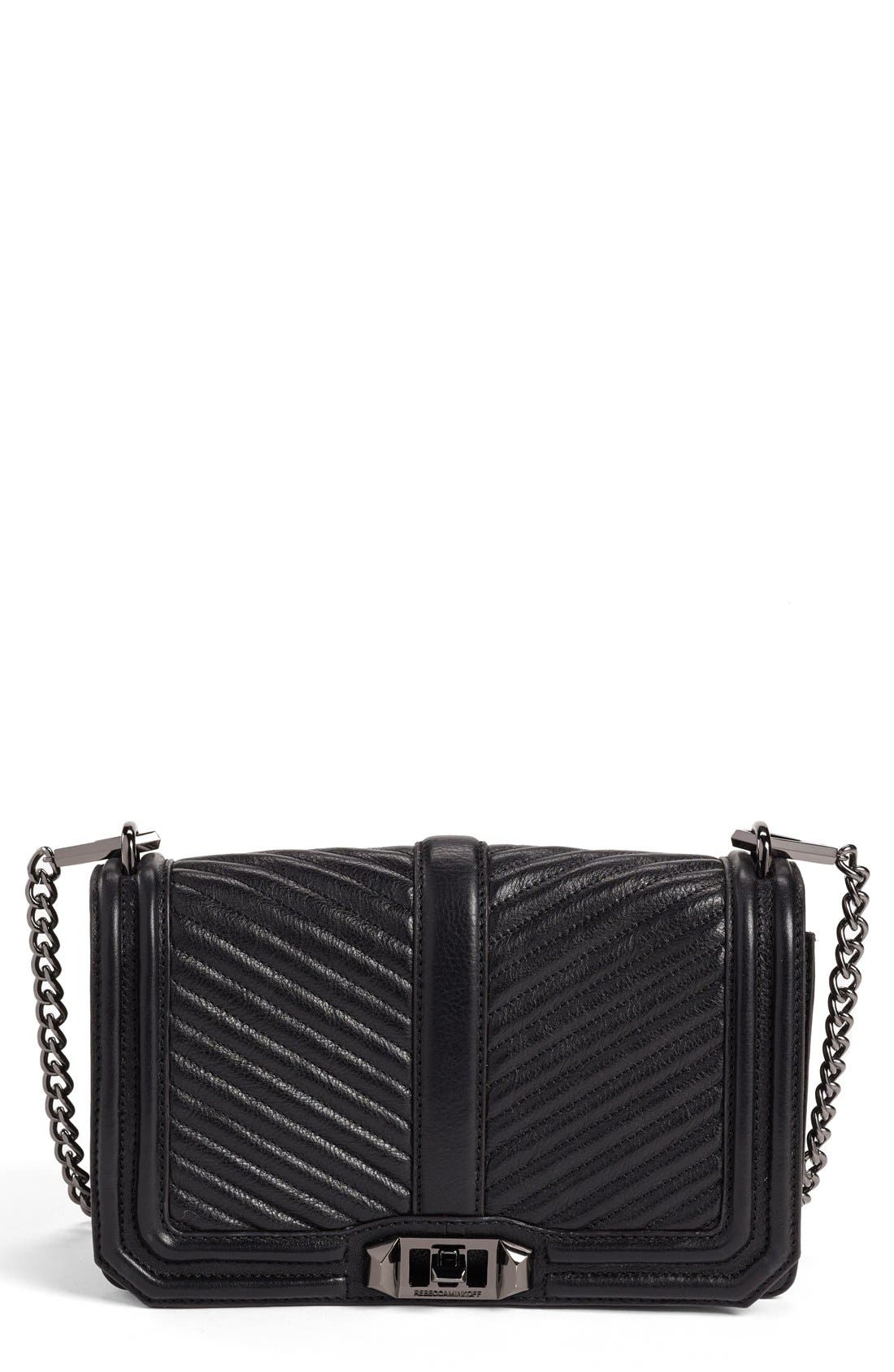 'Chevron Quilted Love' Crossbody Bag,                             Main thumbnail 1, color,                             001