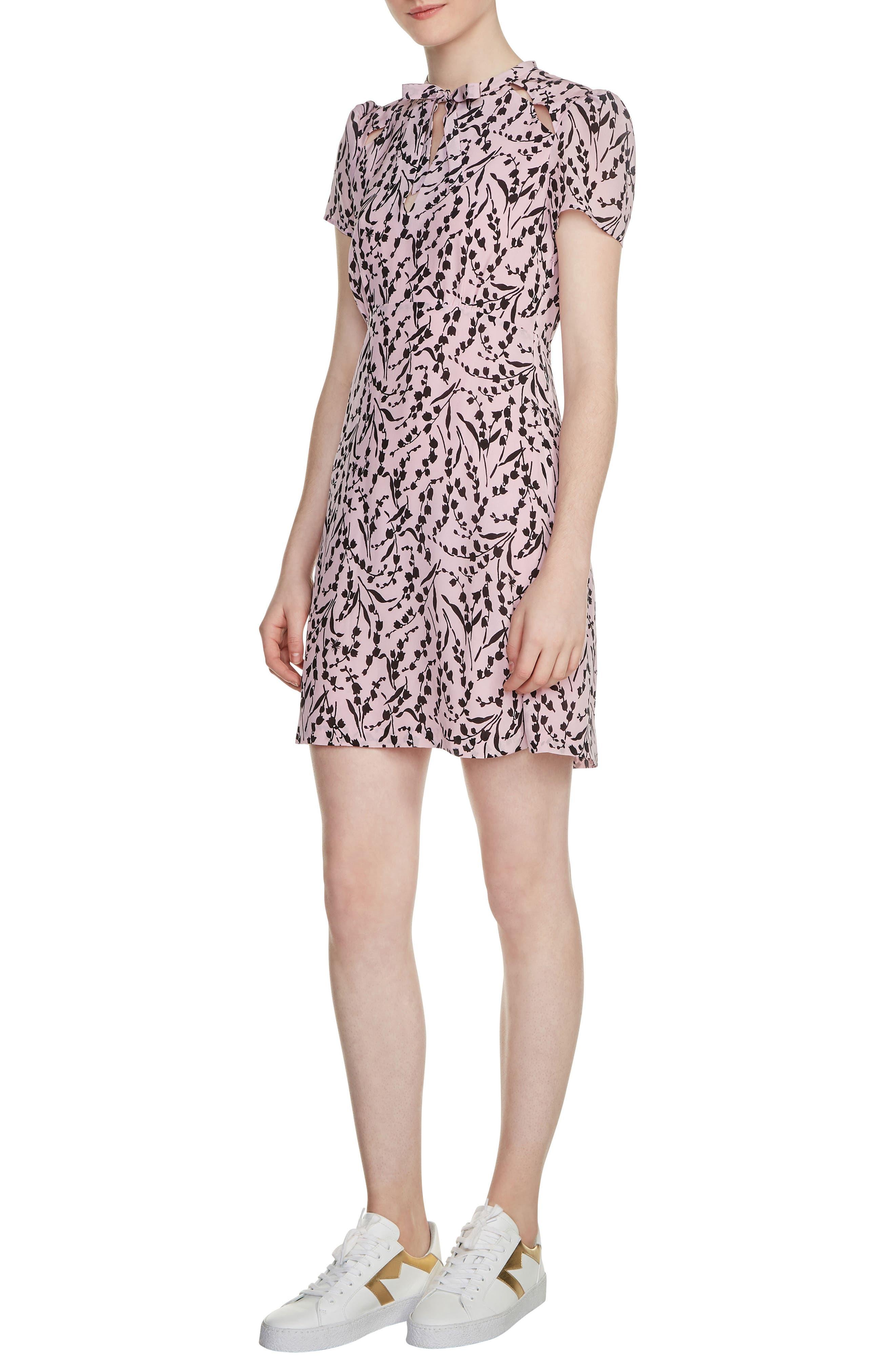 Bow Neck Silk Dress,                         Main,                         color, 650