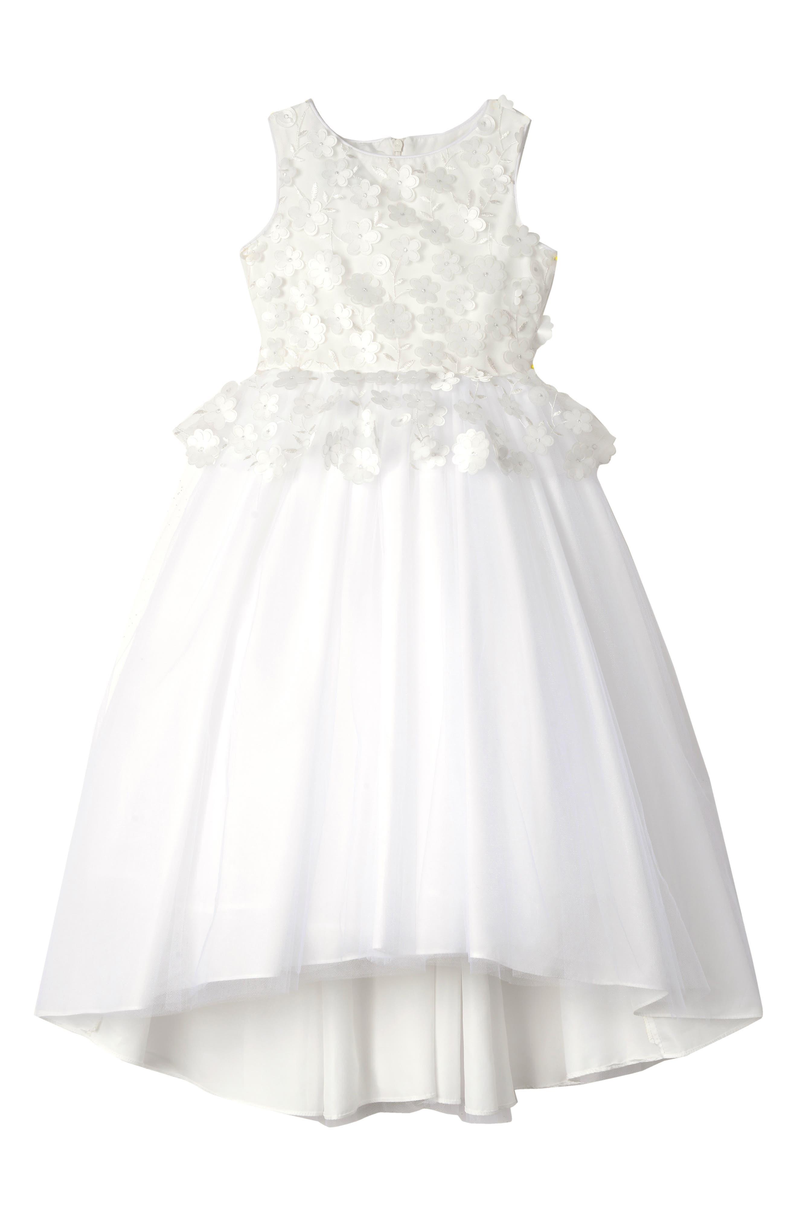 BADGLEY MISCHKA COLLECTION,                             Badgley Mischka 3D Flower Peplum Dress,                             Main thumbnail 1, color,                             WHITE