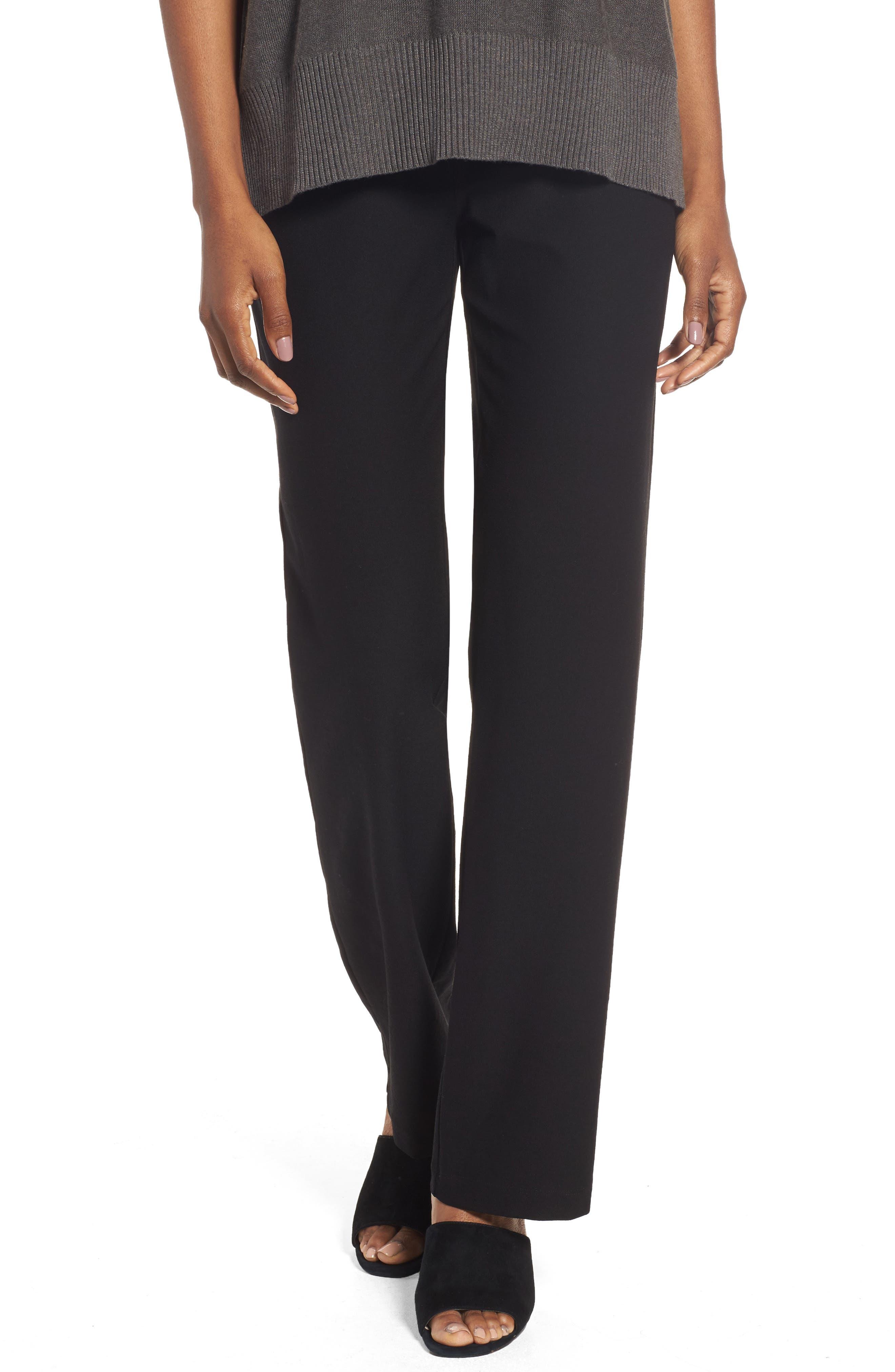 Straight Leg Pants,                             Main thumbnail 1, color,                             BLACK