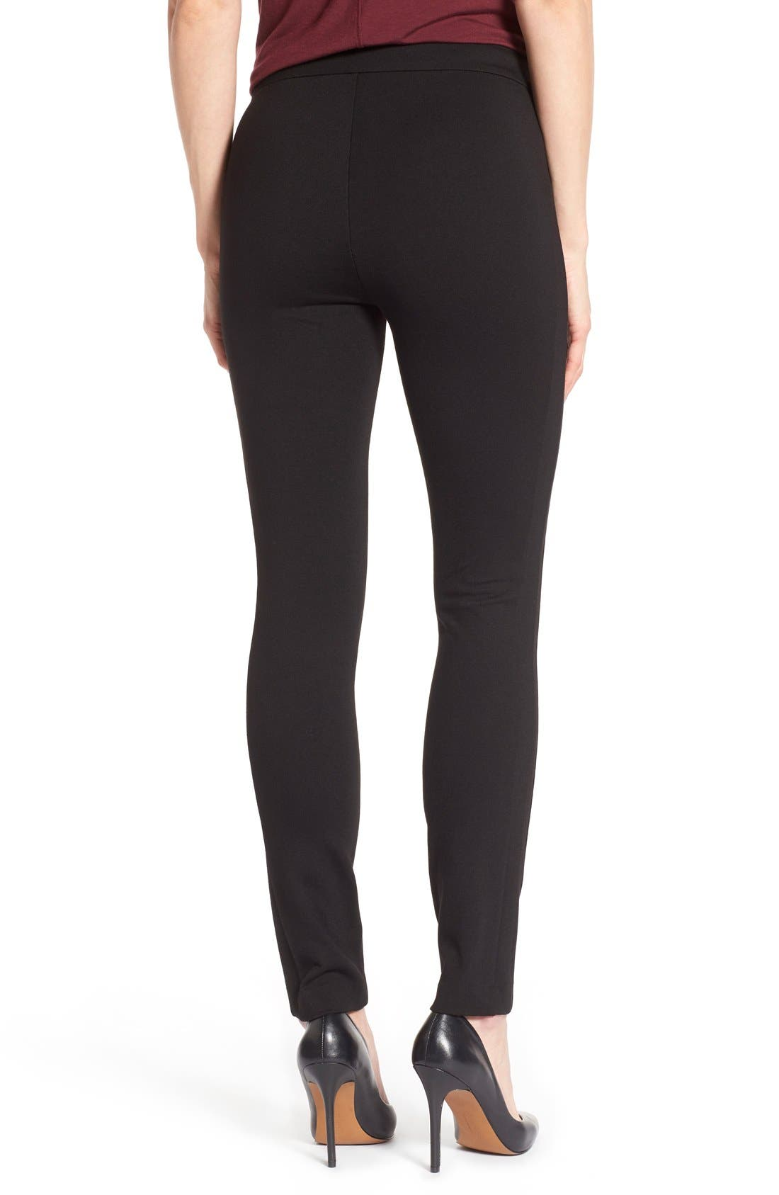 'Tower' Side Zip Ponte Skinny Pants,                             Alternate thumbnail 4, color,                             001