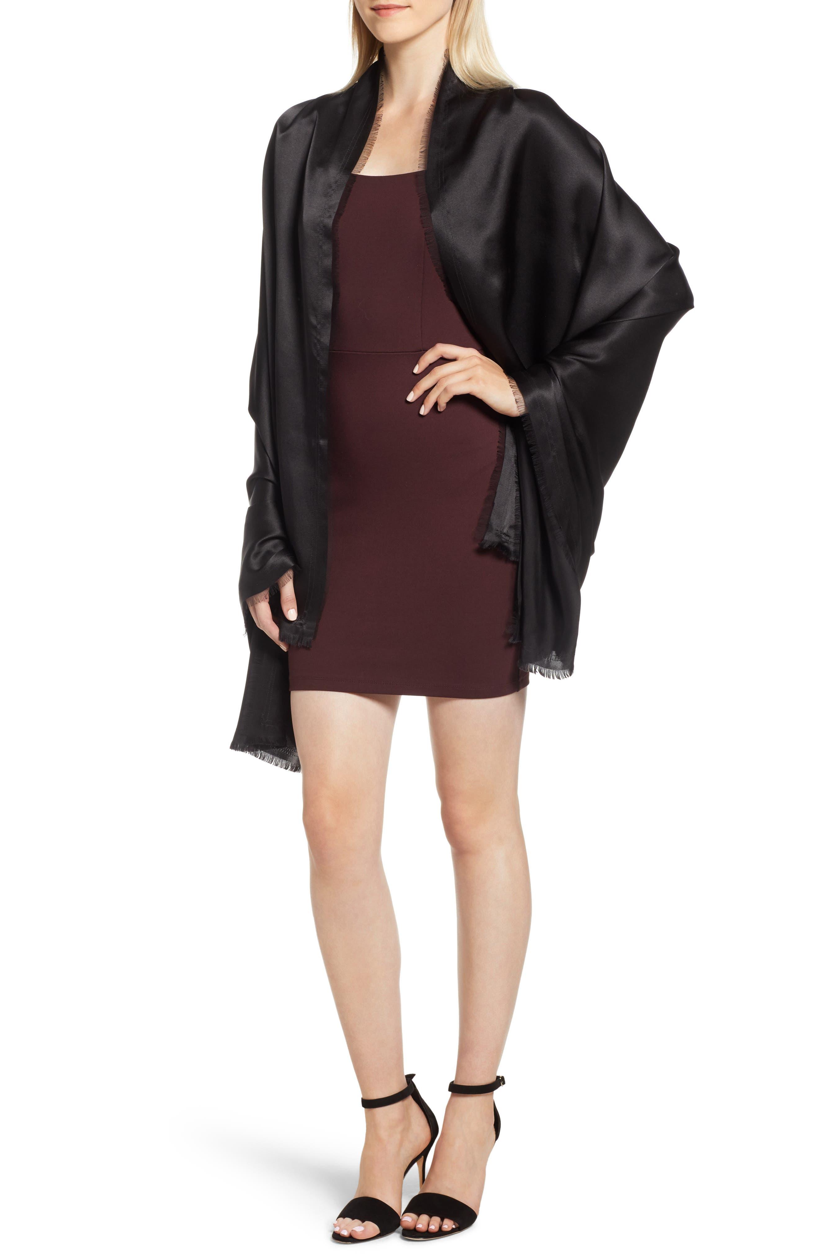 Silk Fringe Wrap,                         Main,                         color, BLACK