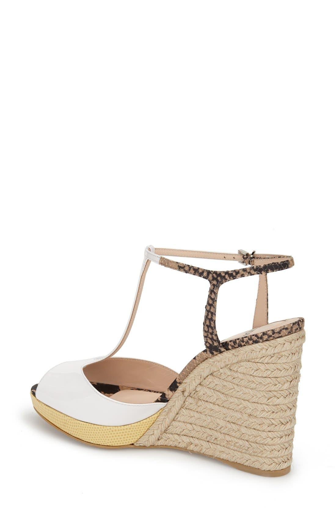 'Elodie' T-Strap Wedge Sandal,                             Alternate thumbnail 6, color,