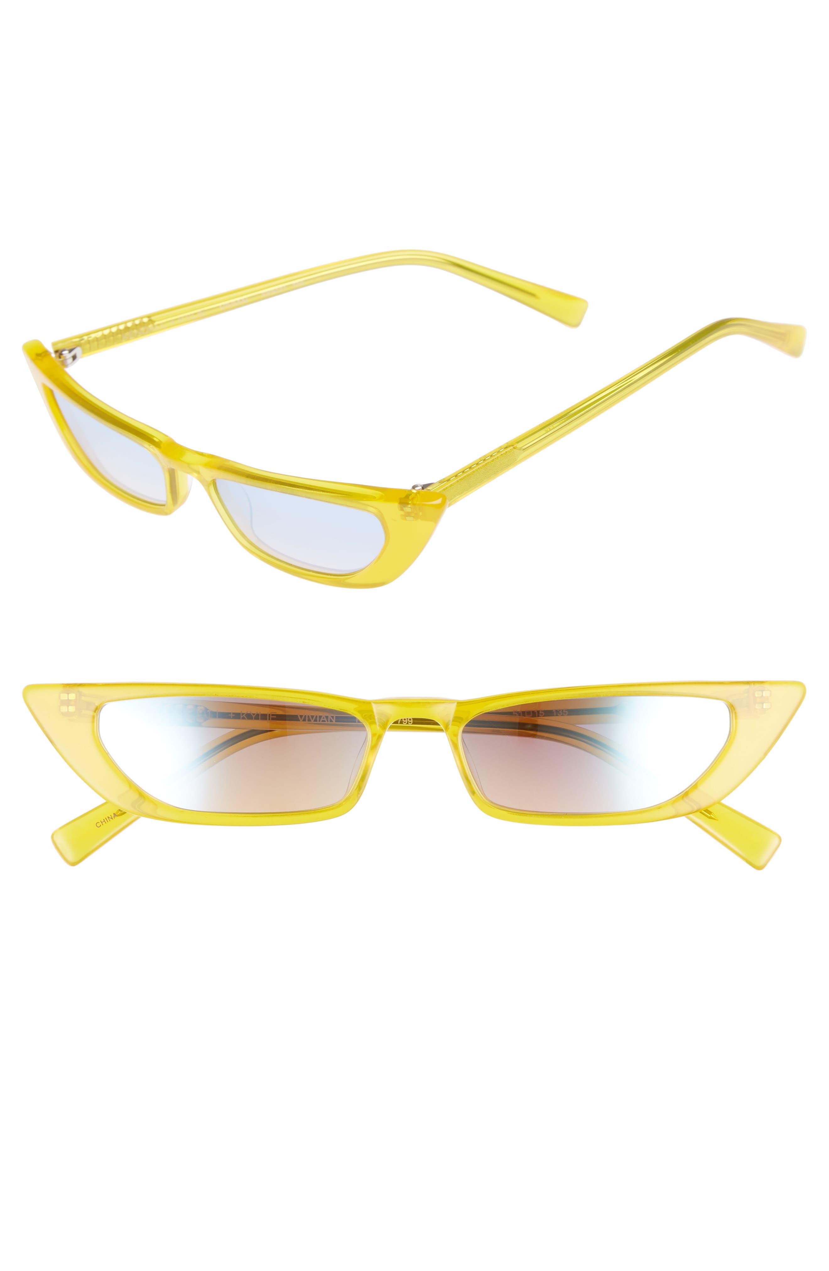Kendall + Kylie Vivian Extreme 51Mm Cat Eye Sunglasses - Sun City Yellow/ Solid Smoke
