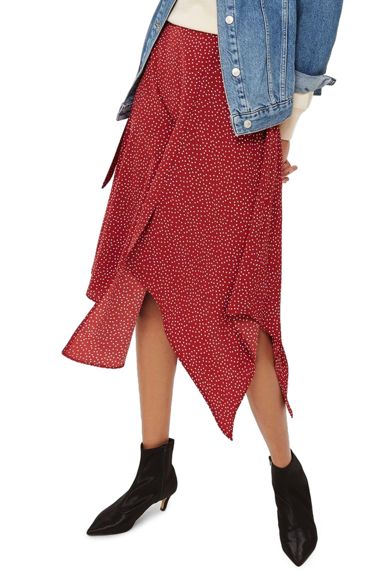 Polka Dot Handkerchief Hem Skirt,                             Main thumbnail 1, color,