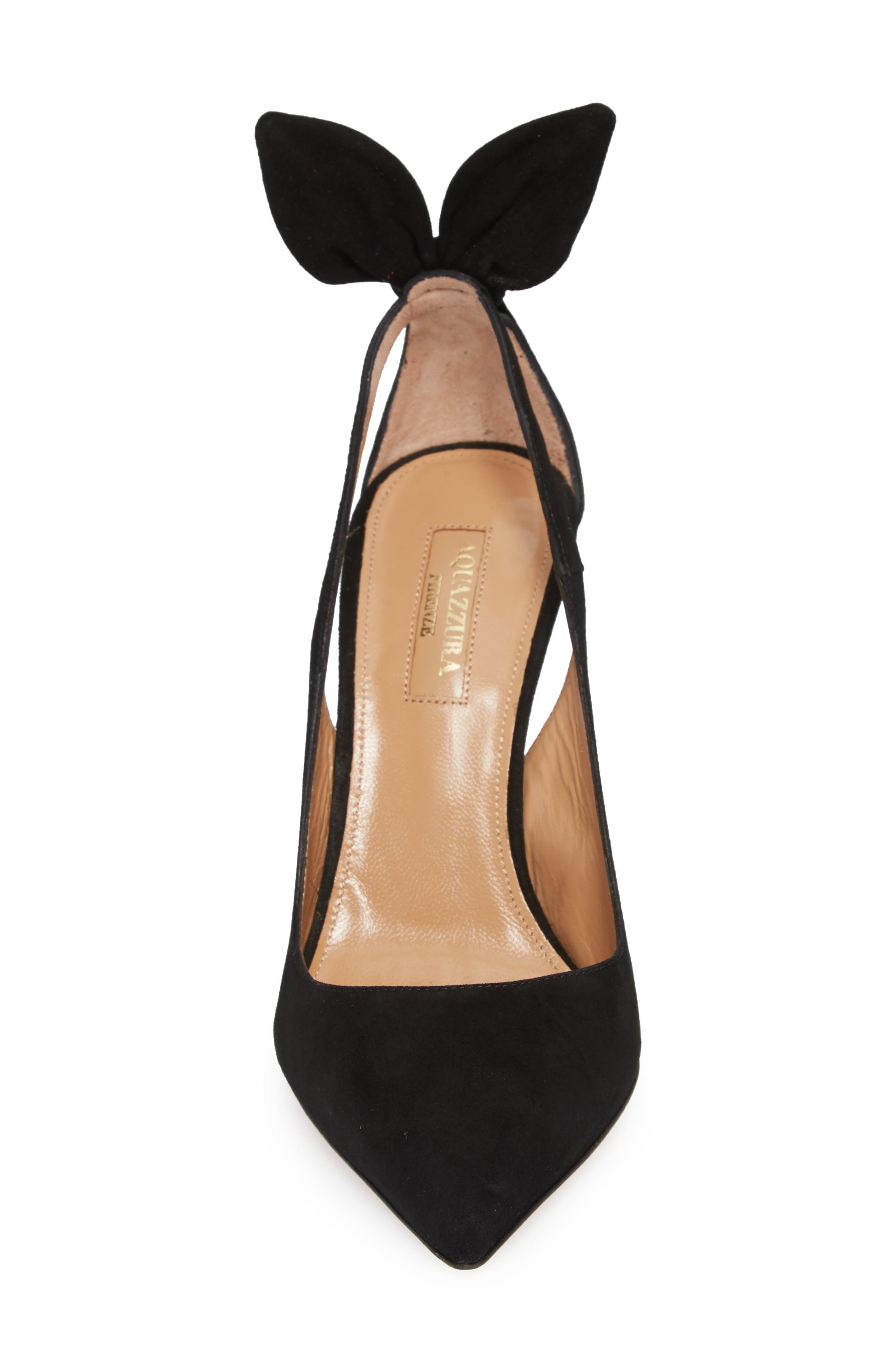 Deneuve Bow Pointy Toe Pump,                             Alternate thumbnail 4, color,                             BLACK