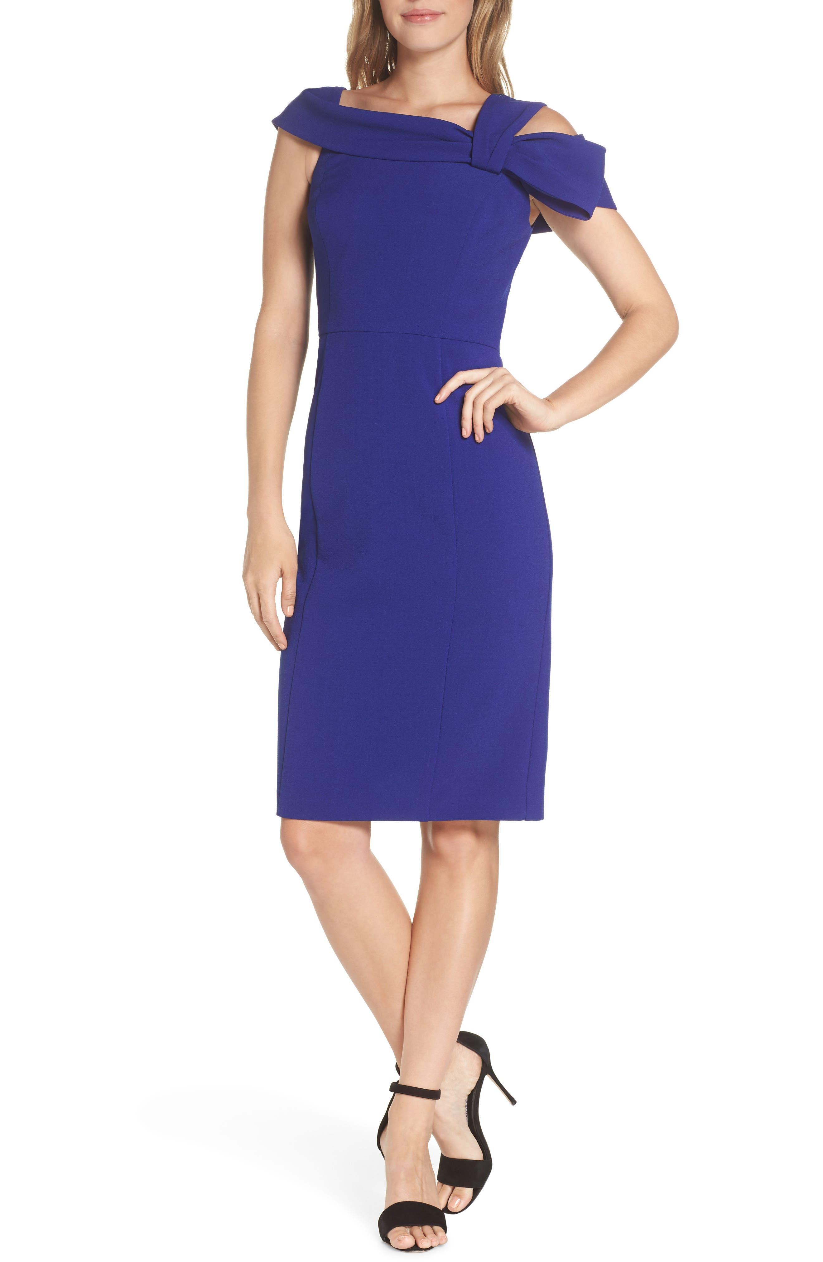 Petite Eliza J One Strap Cold-Shoulder Dress, Blue