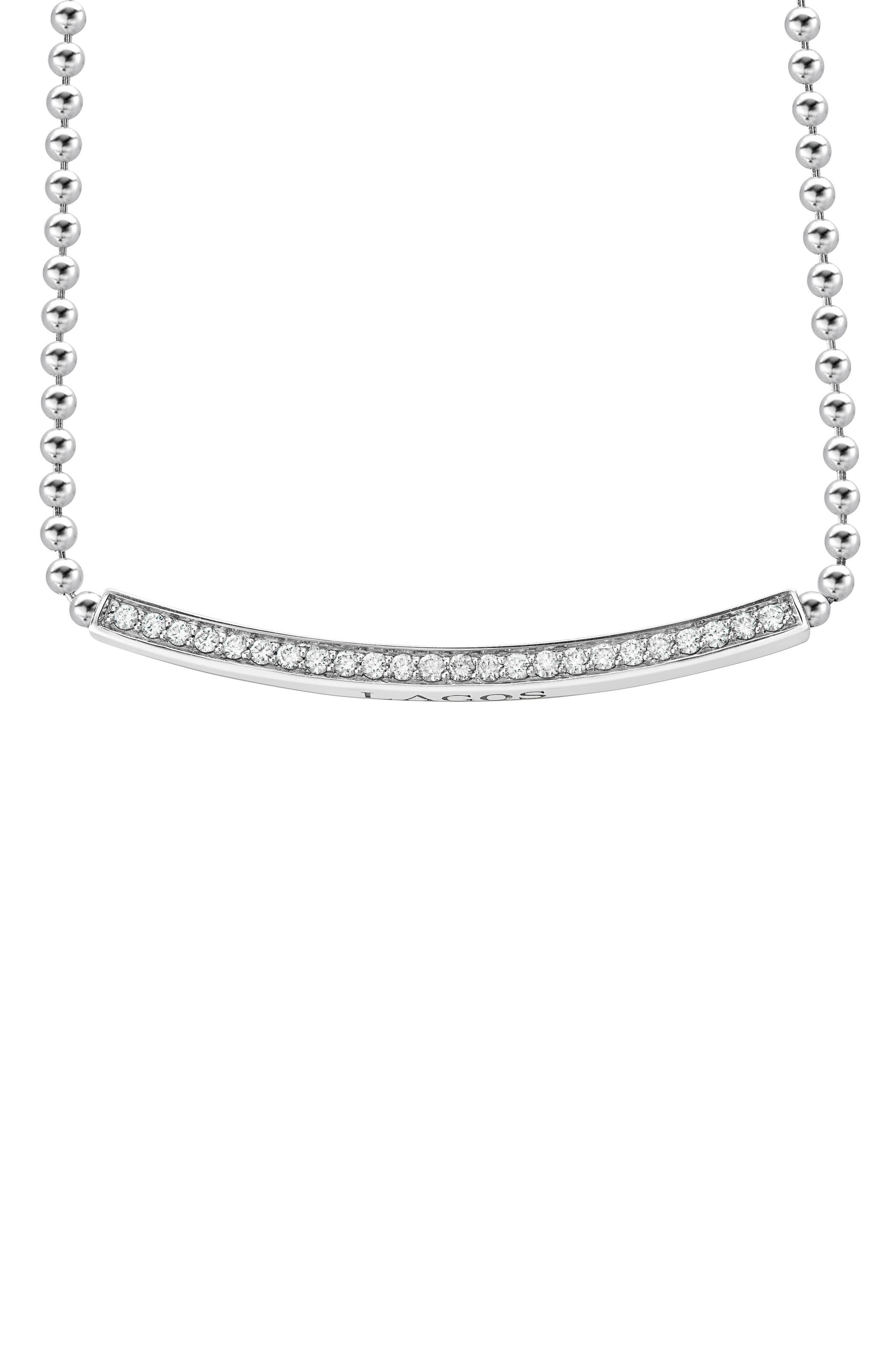Caviar Spark Diamond Bar Necklace,                             Alternate thumbnail 3, color,                             SILVER/ DIAMOND