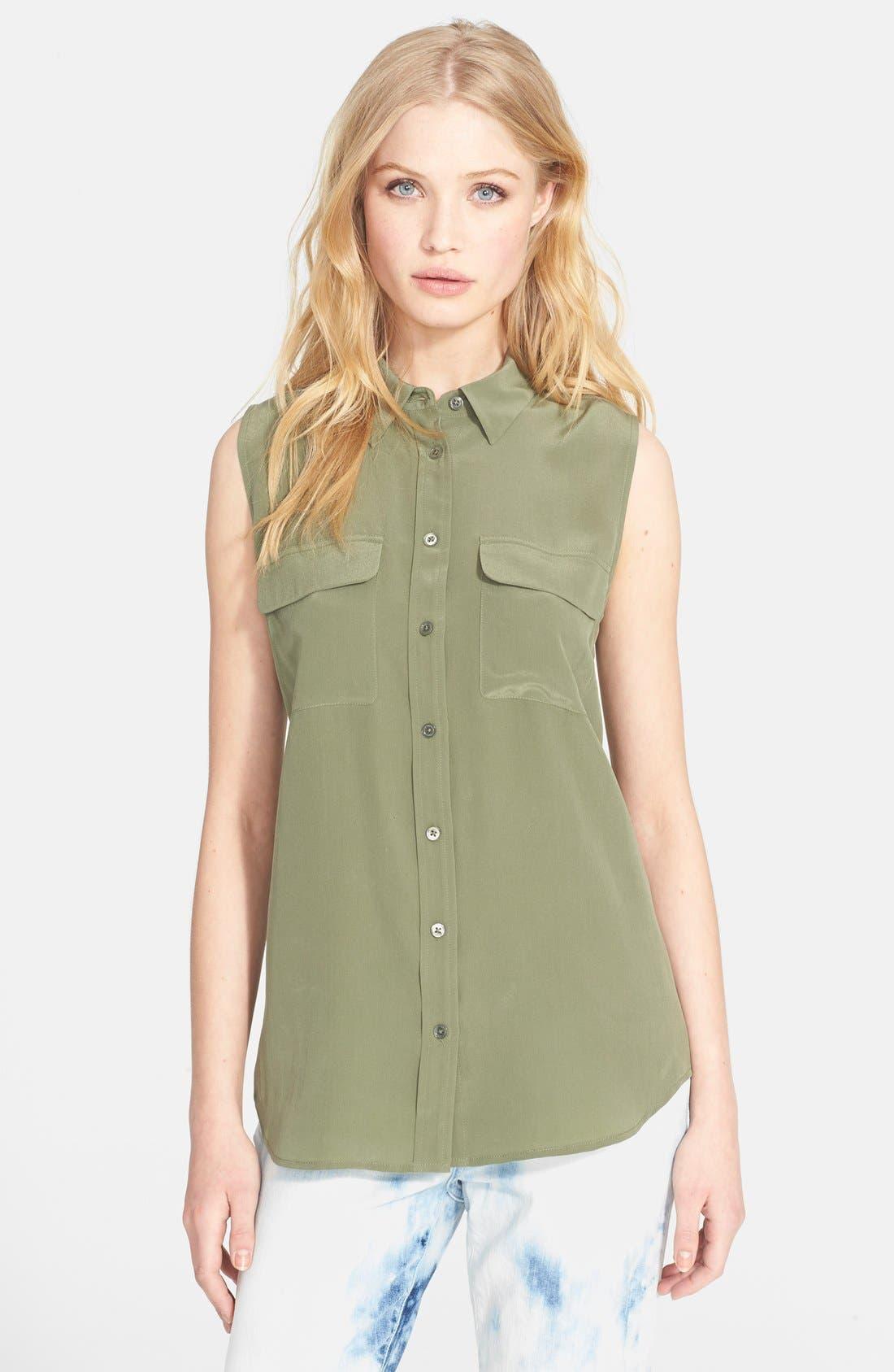 'Slim Signature' Sleeveless Silk Shirt,                             Main thumbnail 18, color,