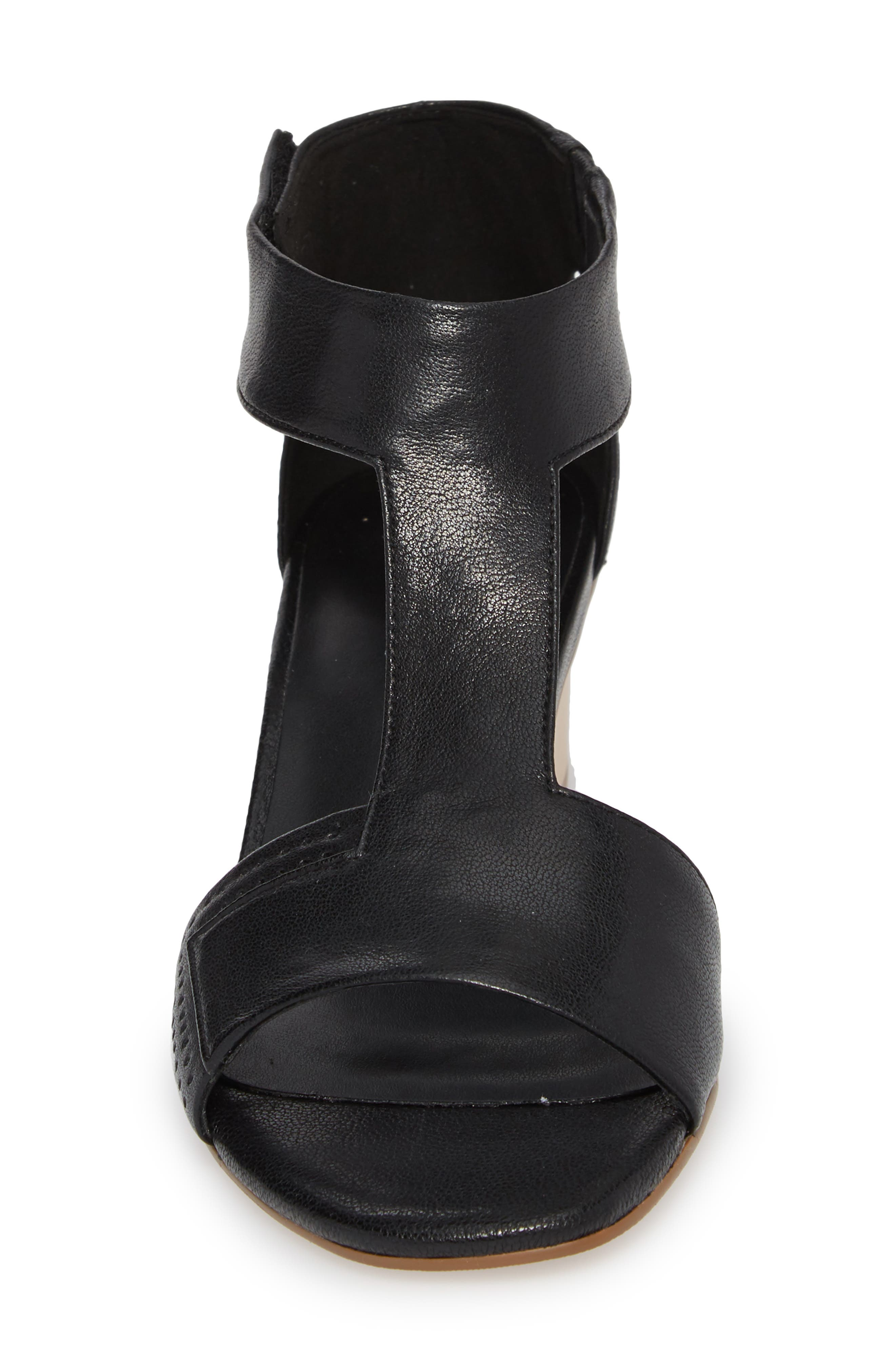 Calyx Block Heel Sandal,                             Alternate thumbnail 4, color,                             BLACK LEATHER