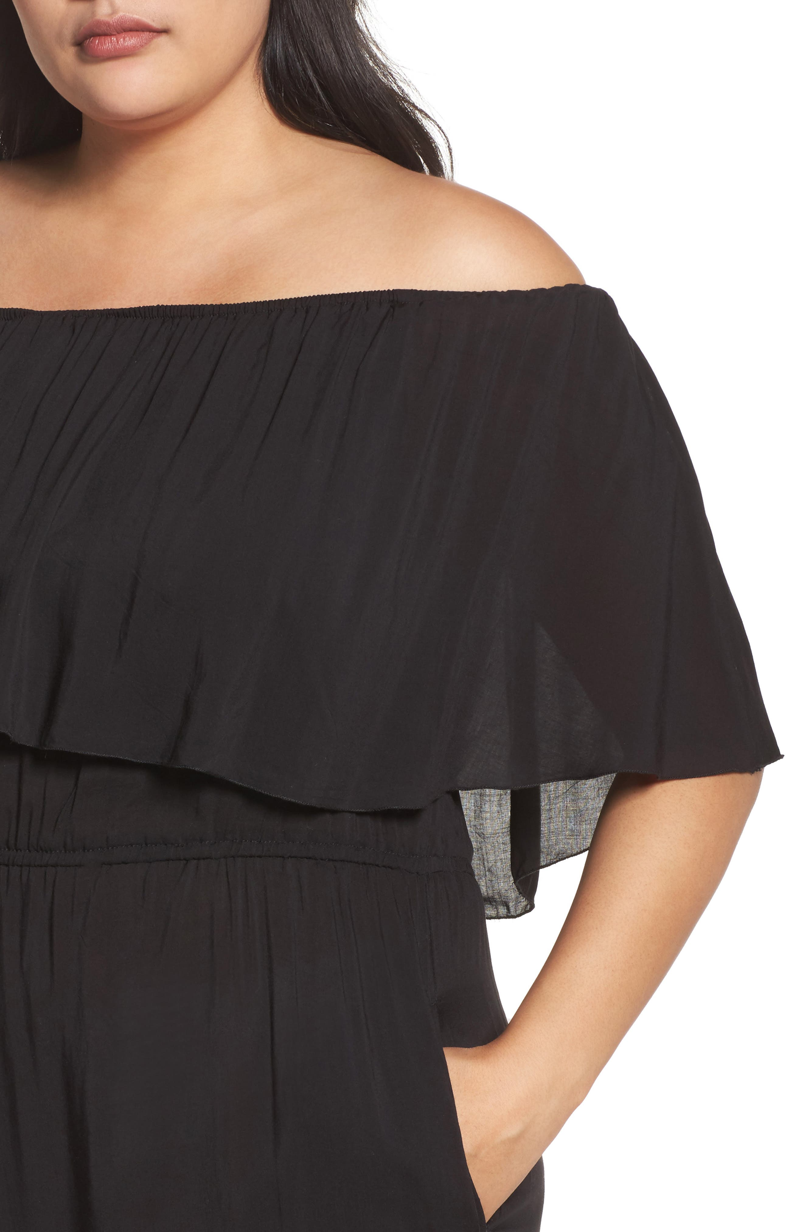 Off the Shoulder Cover-Up Jumpsuit,                             Alternate thumbnail 4, color,