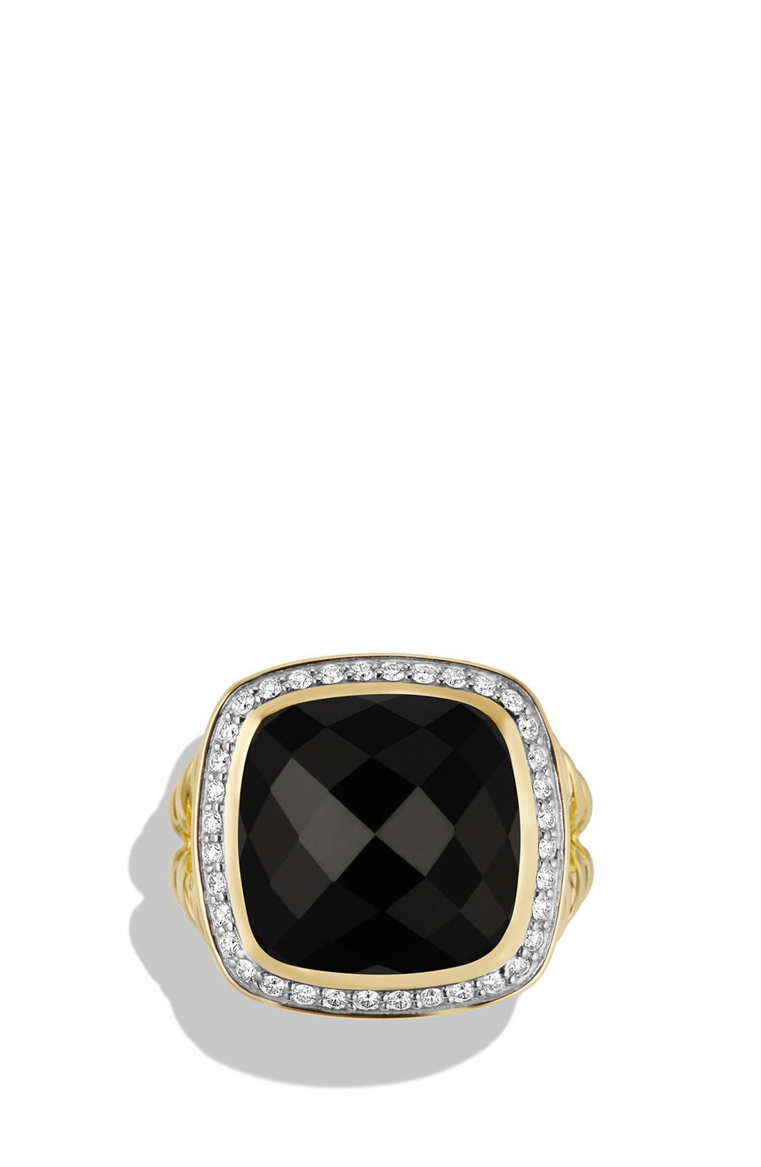 'Albion' Ring with Diamonds in 18k Gold,                             Alternate thumbnail 3, color,                             BLACK ONYX