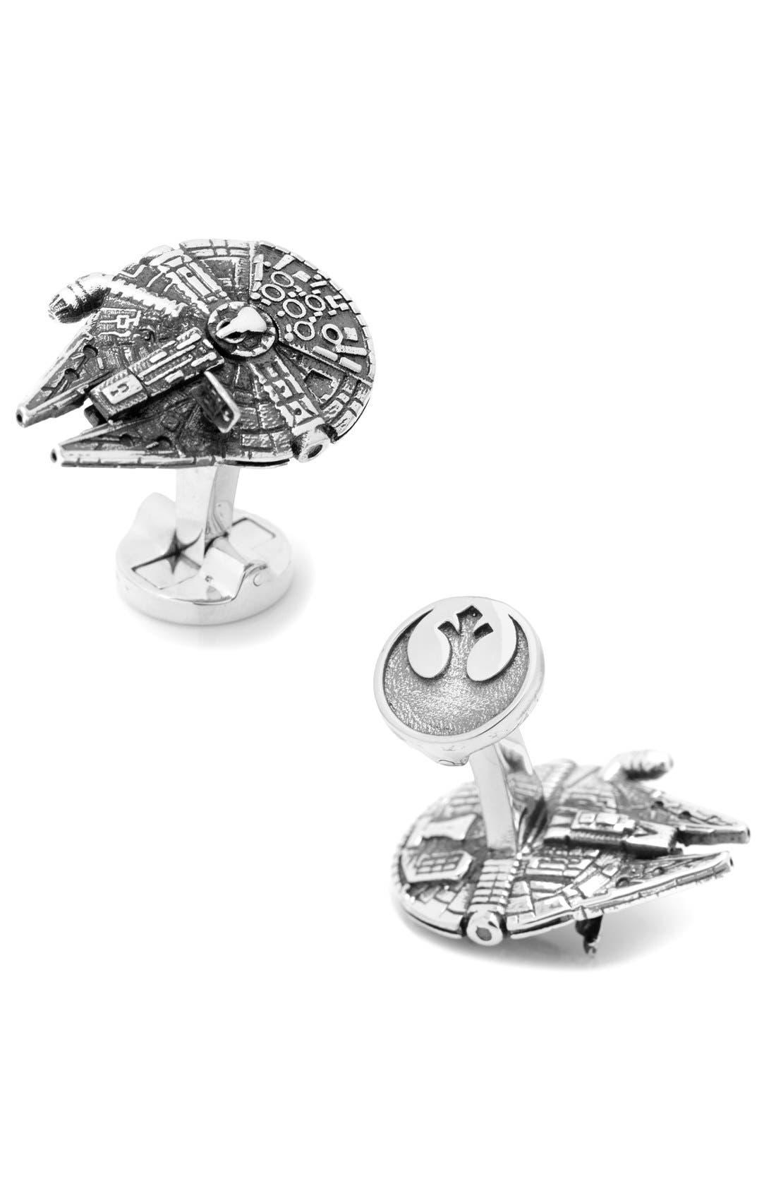 Star Wars Millennium Falcon Cuff Links,                             Main thumbnail 1, color,                             SILVER