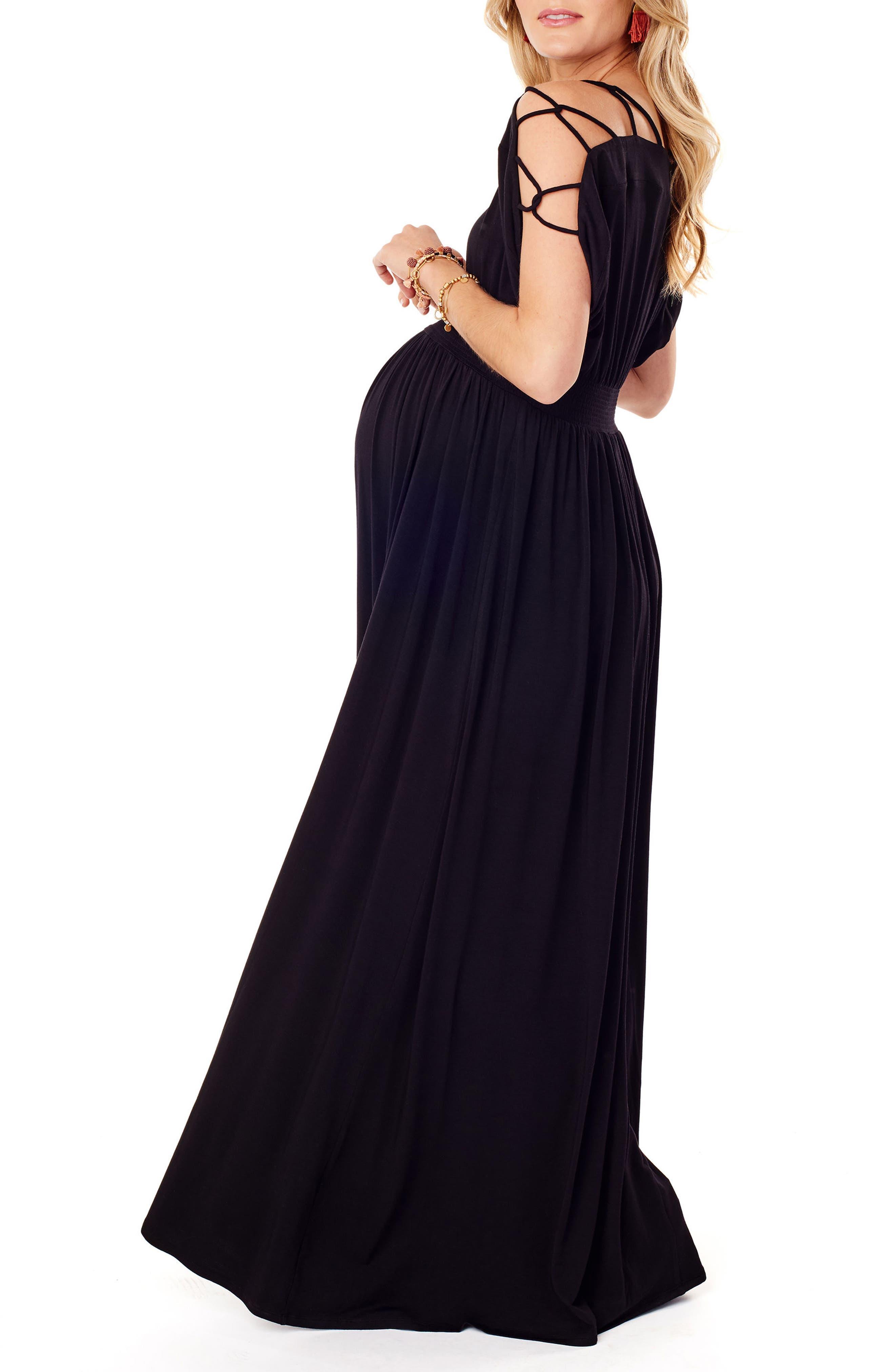 Smocked Empire Waist Maternity Maxi Dress,                             Alternate thumbnail 3, color,                             JET BLACK