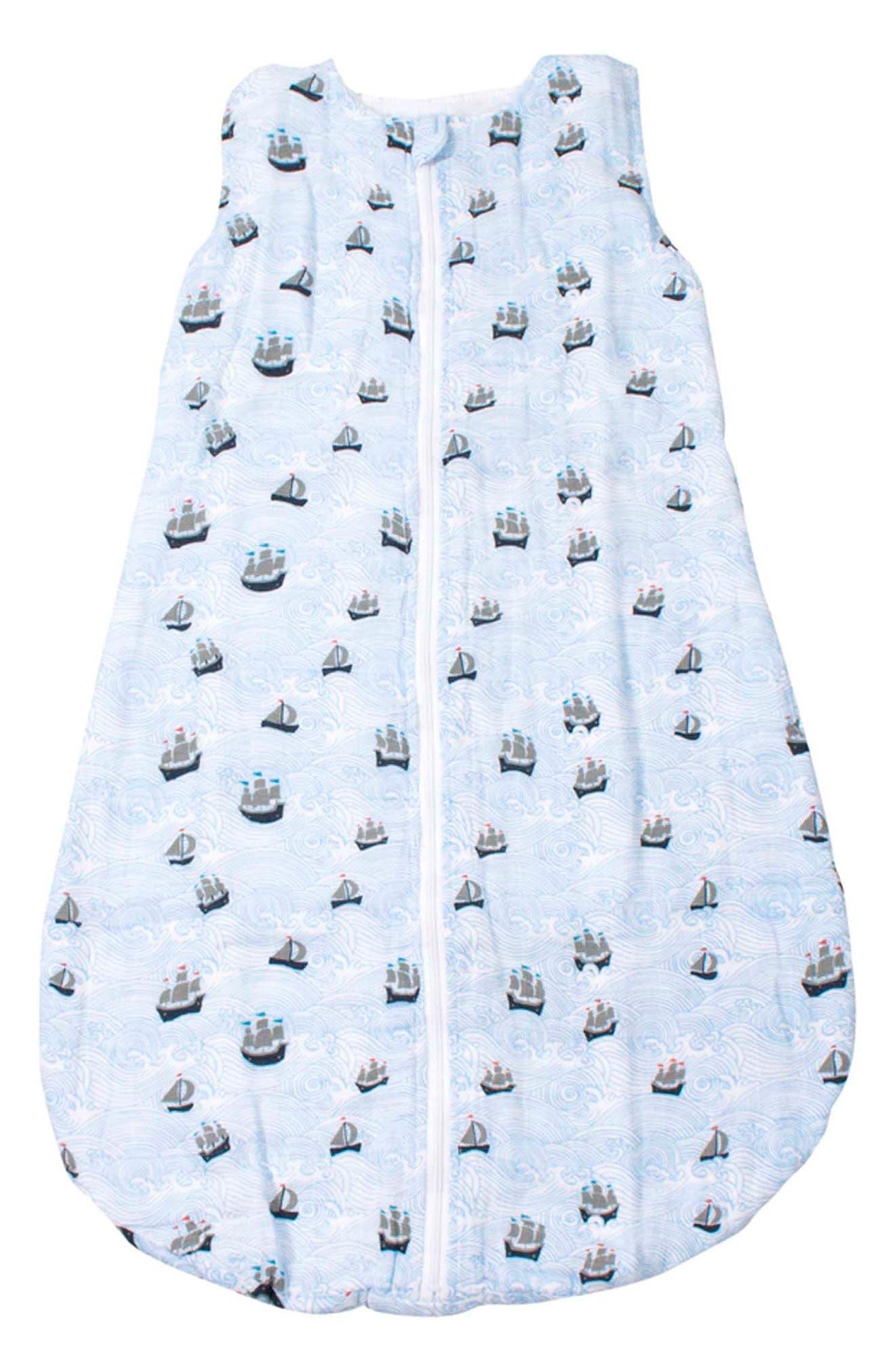 Muslin Cotton Wearable Blanket,                             Main thumbnail 1, color,                             HIGH SEAS
