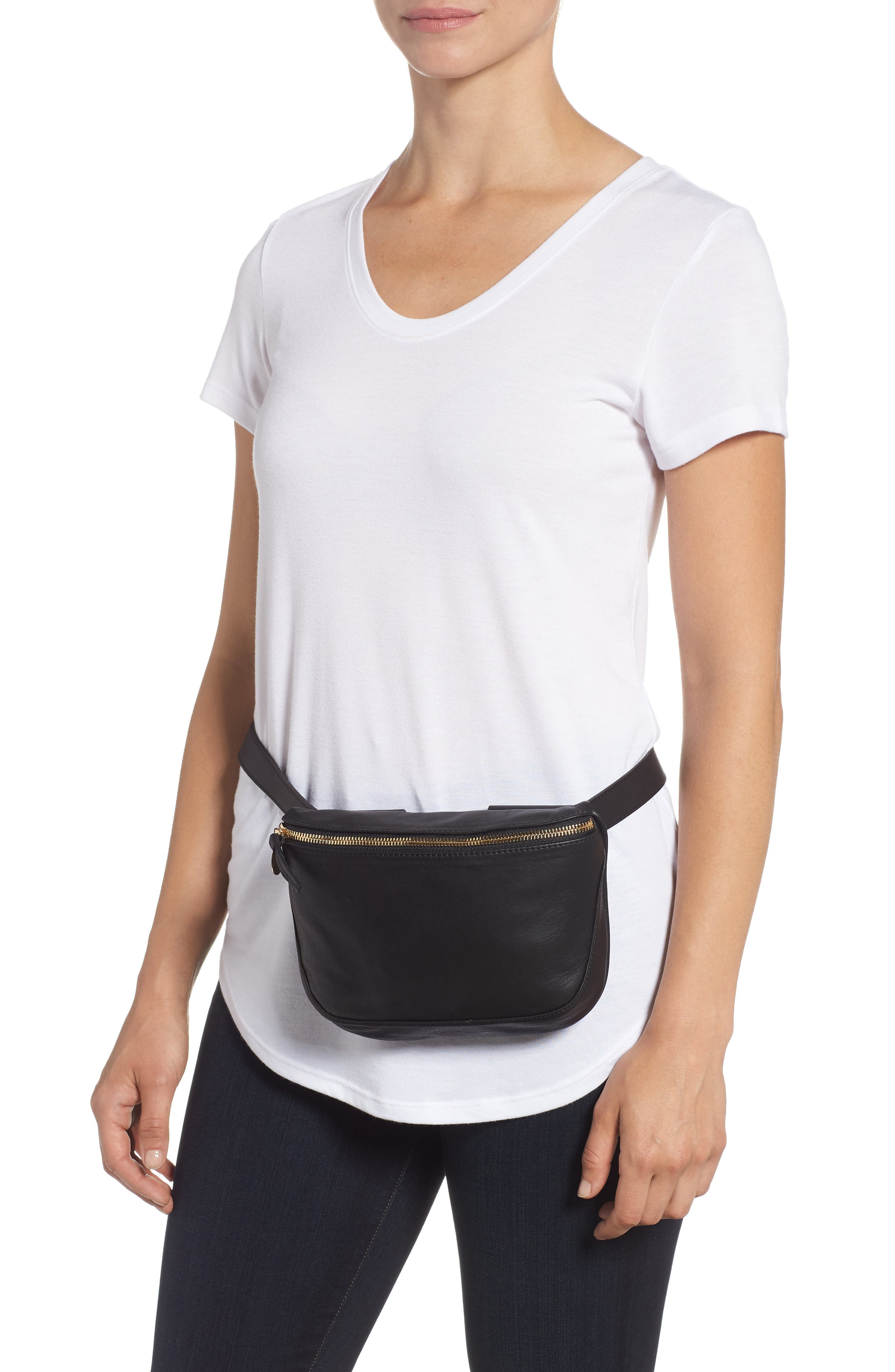 Leather Fanny Pack,                             Alternate thumbnail 4, color,