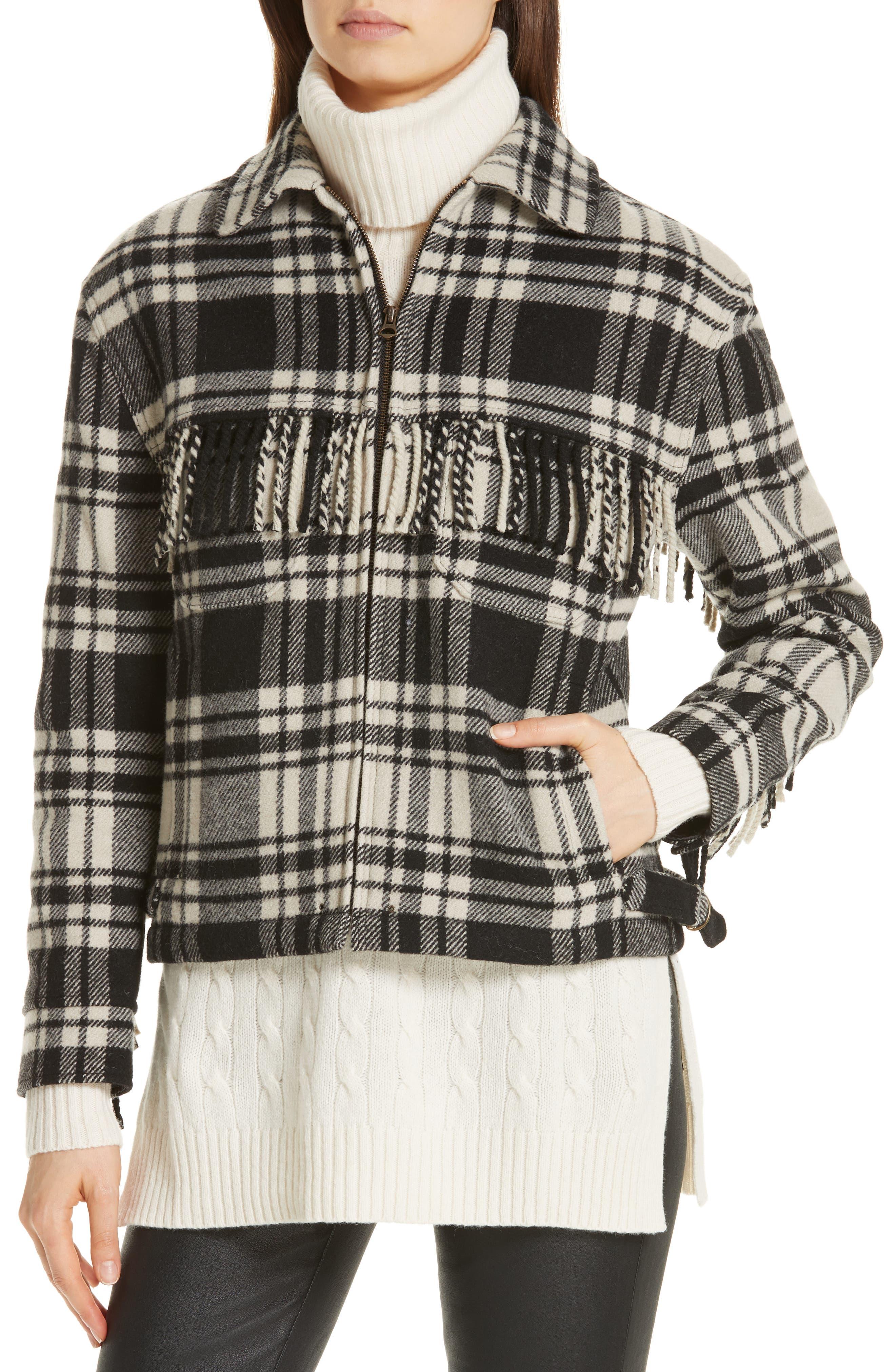 Wool Blend Plaid Jacket,                             Alternate thumbnail 4, color,                             BLACK/ CREAM