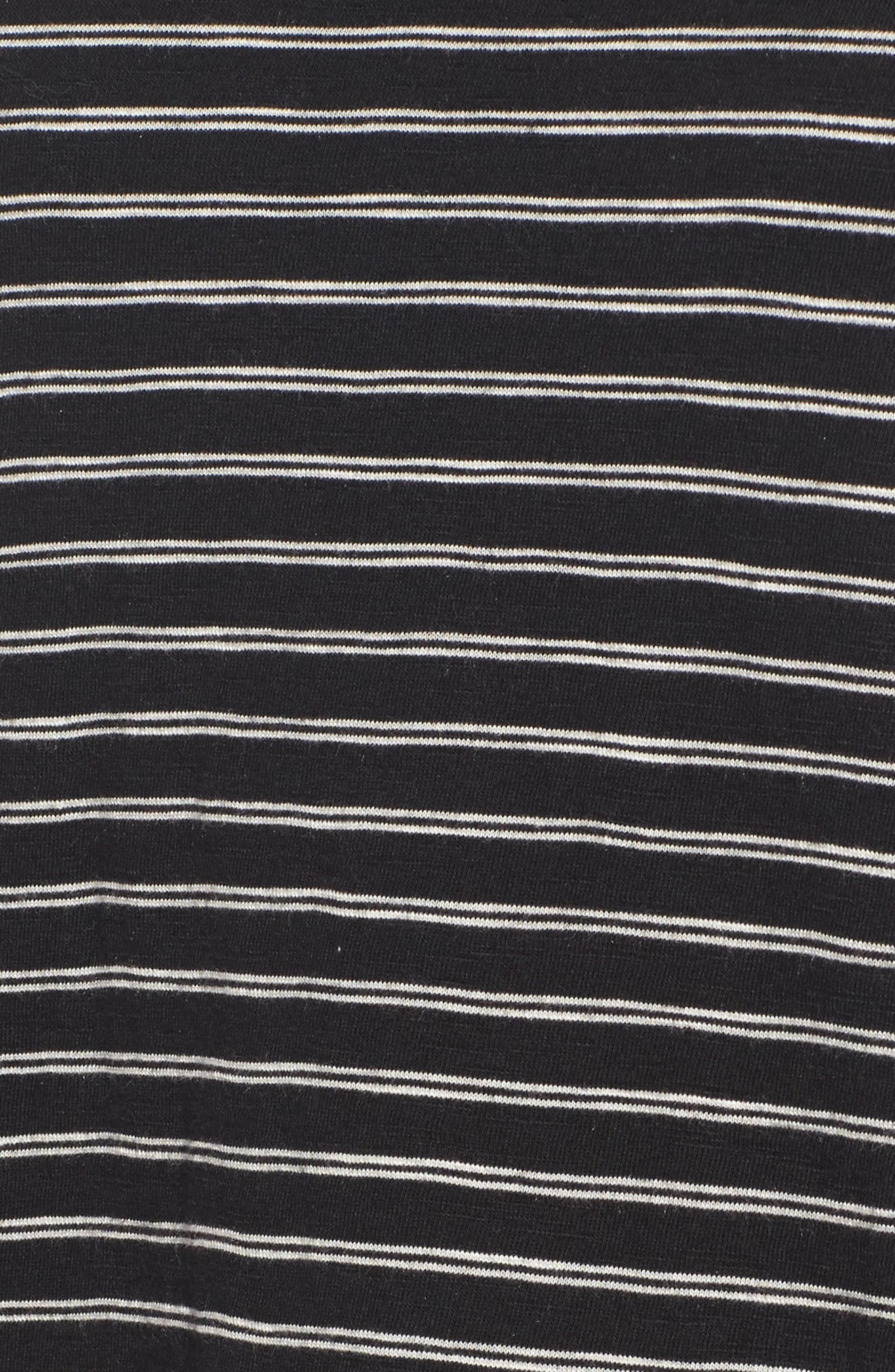 CASLON<SUP>®</SUP>, Peplum Tee, Alternate thumbnail 5, color, BLACK- BEIGE STRIPE