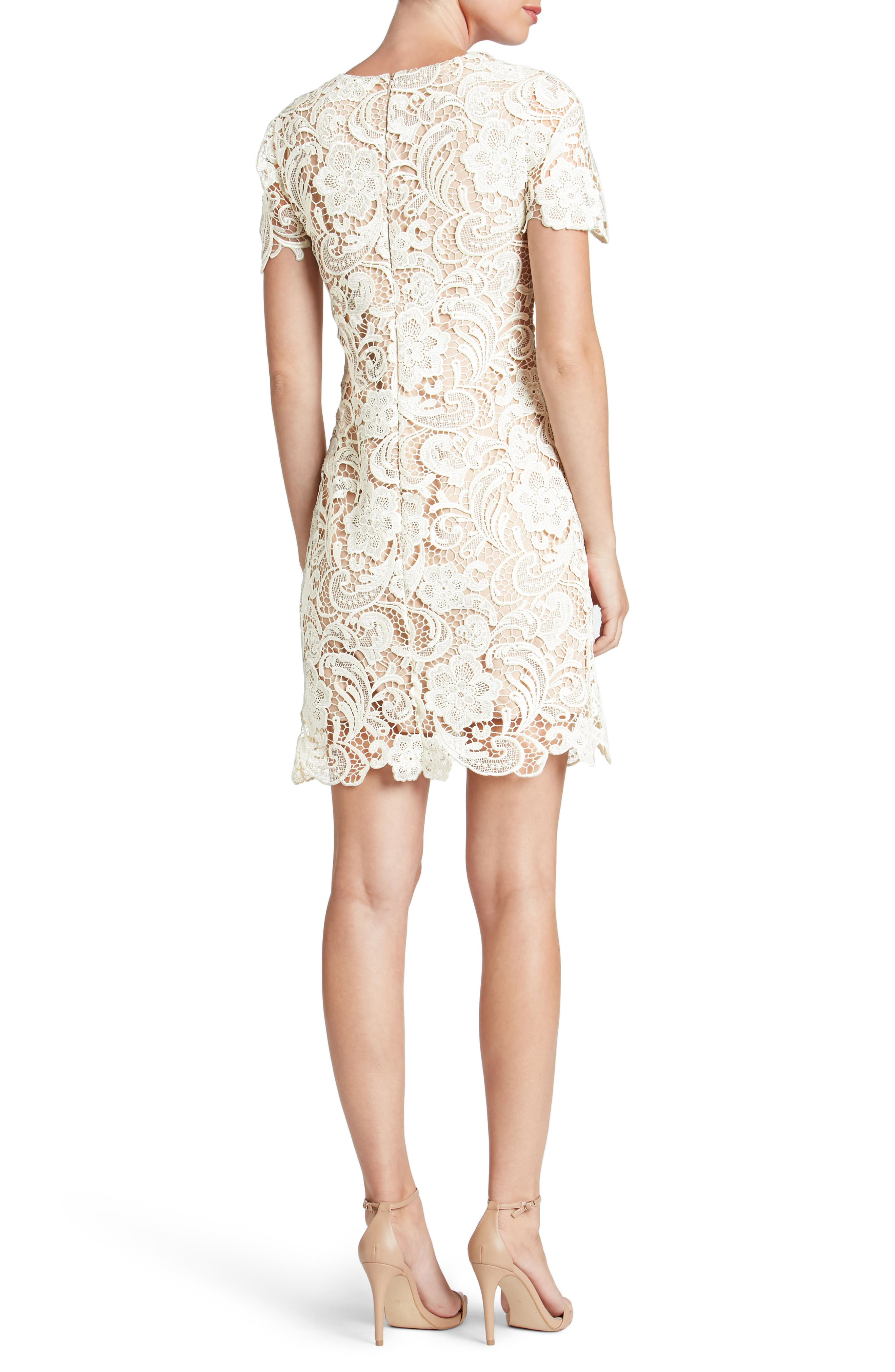 Anna Crochet Lace Sheath Dress,                             Alternate thumbnail 2, color,                             WHITE/ NUDE