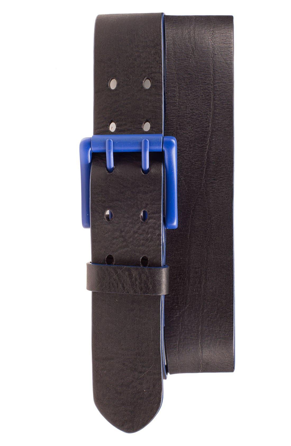 'Electric Flag' Leather Belt,                             Main thumbnail 2, color,