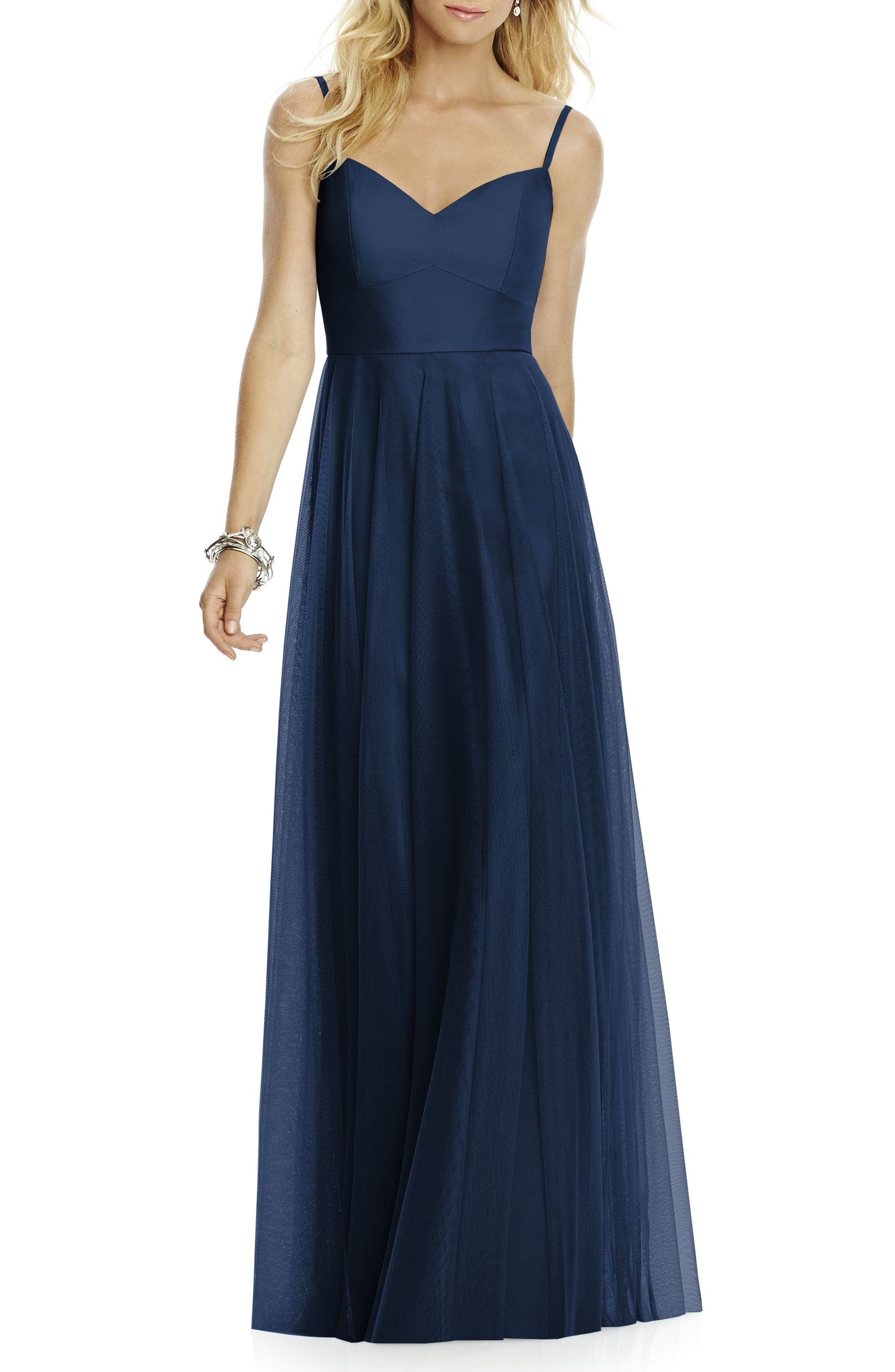 Sleeveless Tulle A-Line Gown,                             Main thumbnail 1, color,                             MIDNIGHT