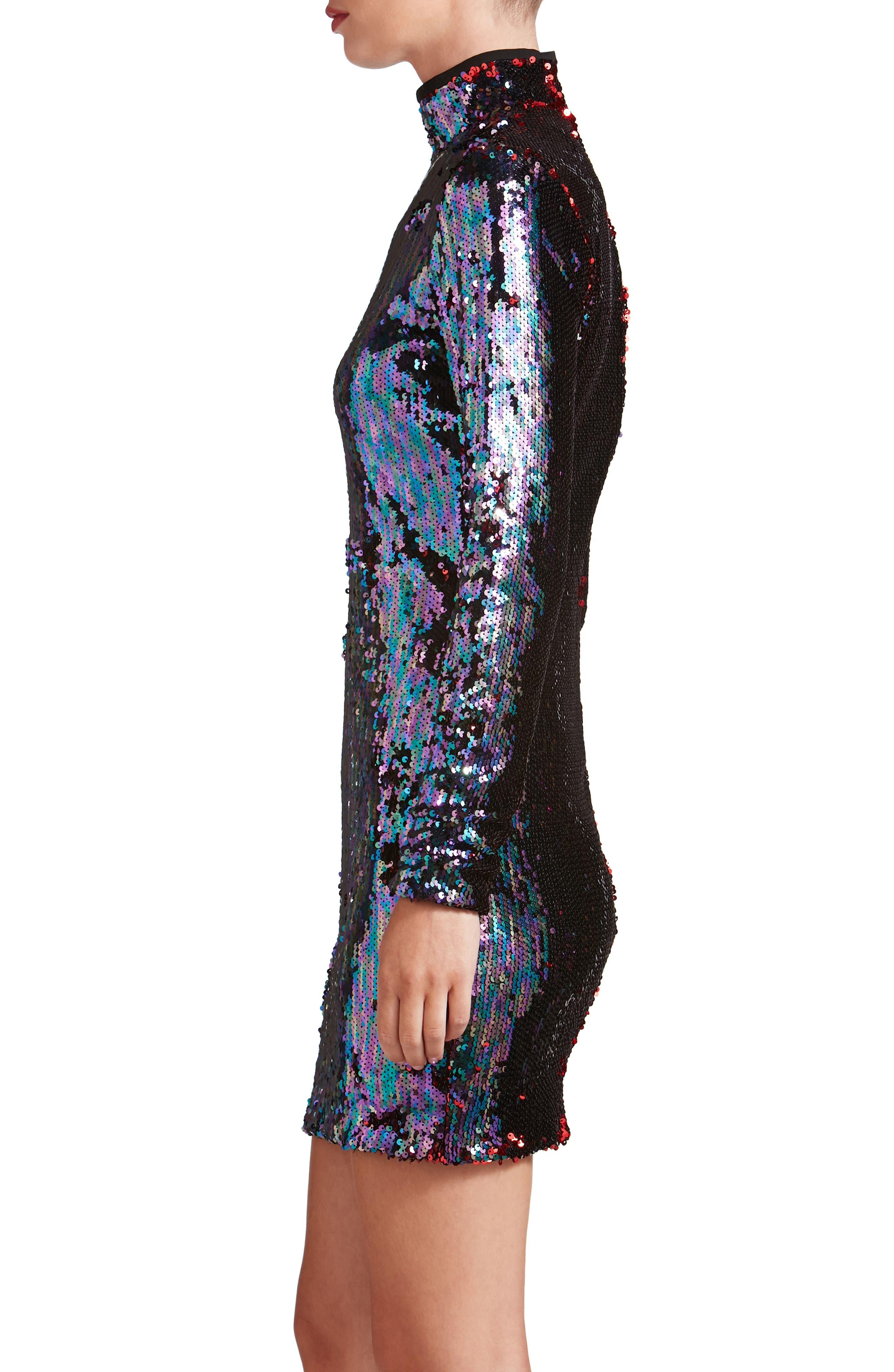 Katy Reversible Sequin Body-Con Dress,                             Alternate thumbnail 3, color,                             457