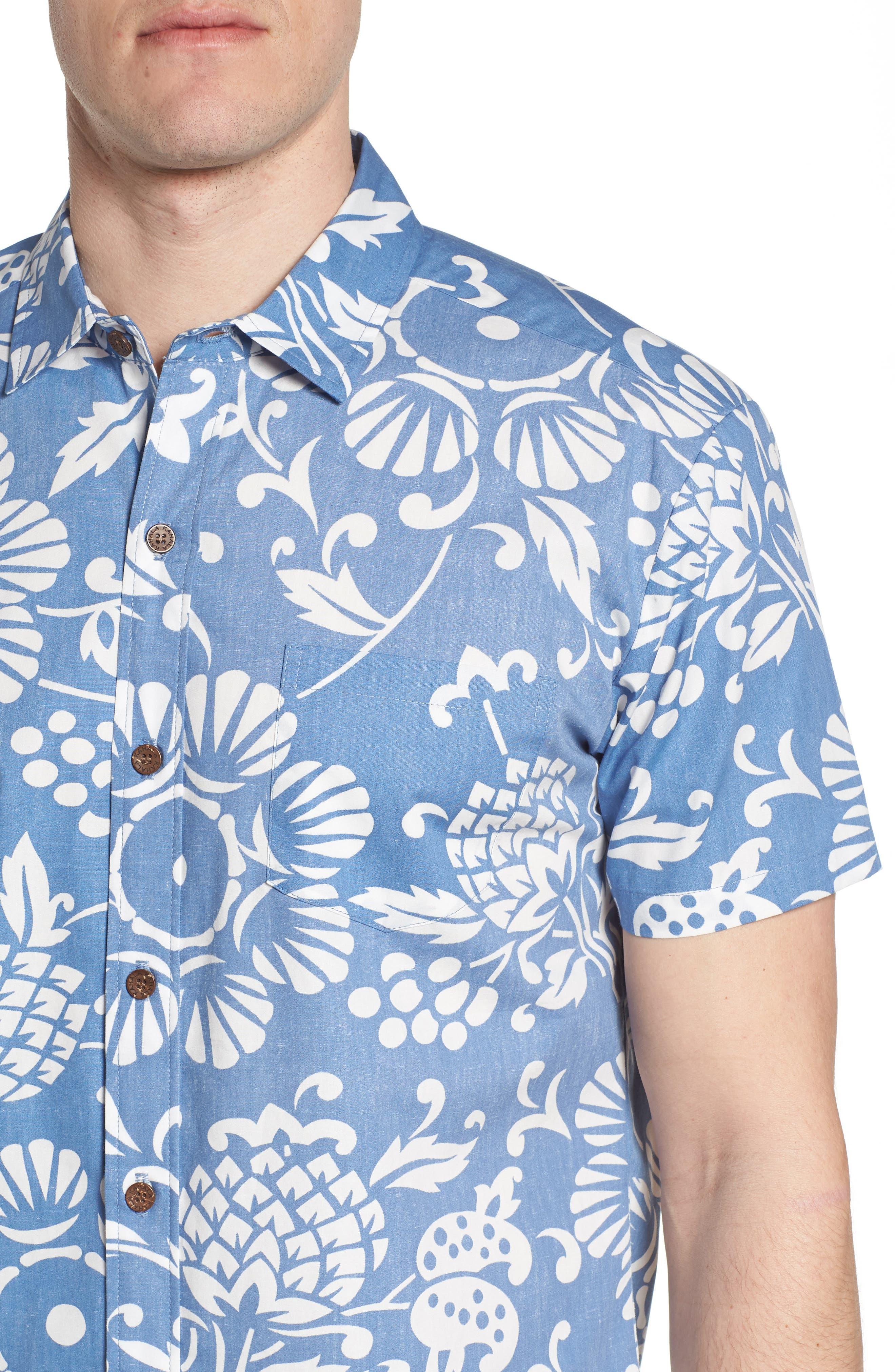 Duke's Pareo Trim Fit Sport Shirt,                             Alternate thumbnail 4, color,                             WAVE