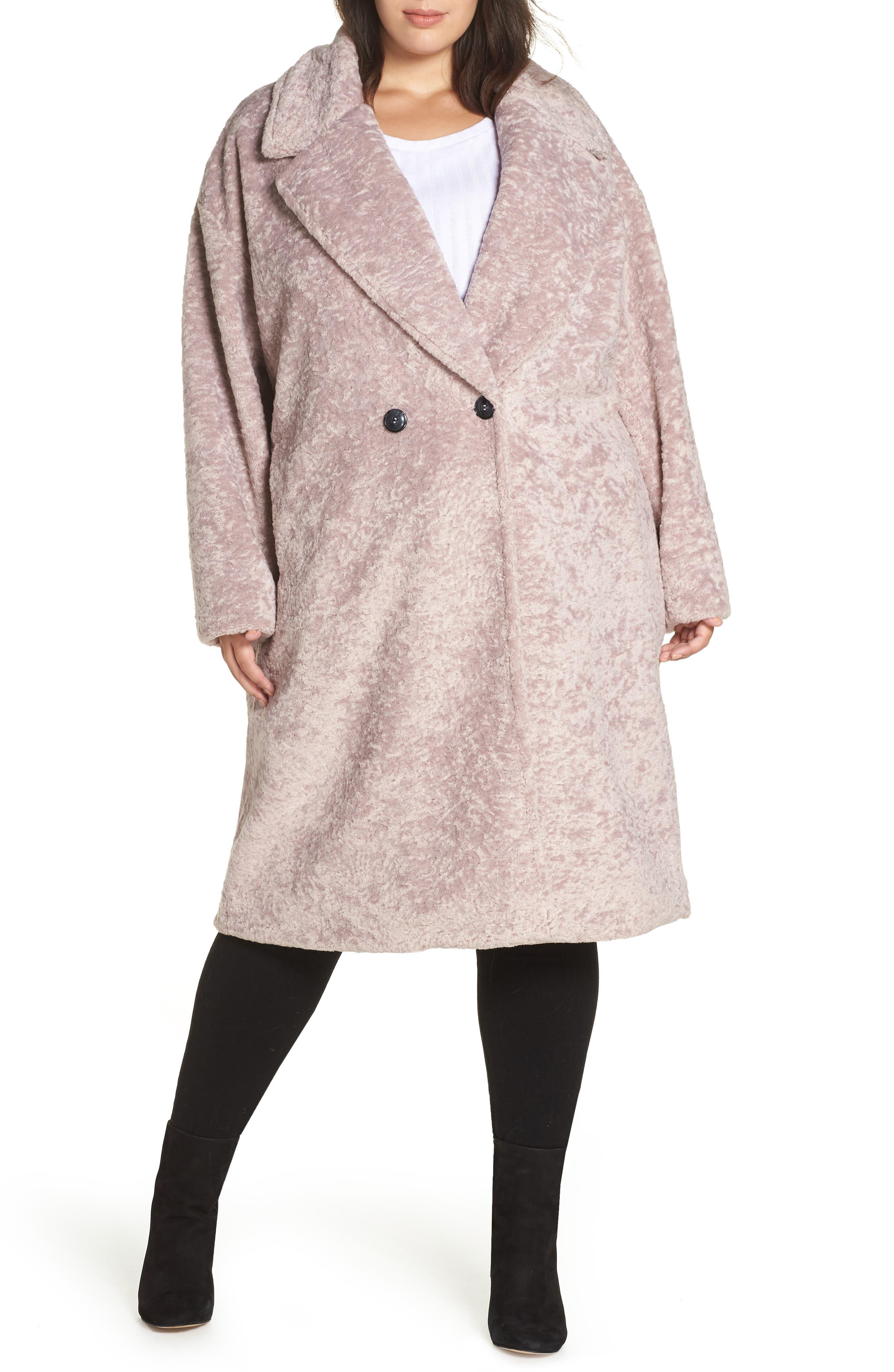 Faux Fur Cocoon Coat,                             Alternate thumbnail 4, color,                             MAUVE